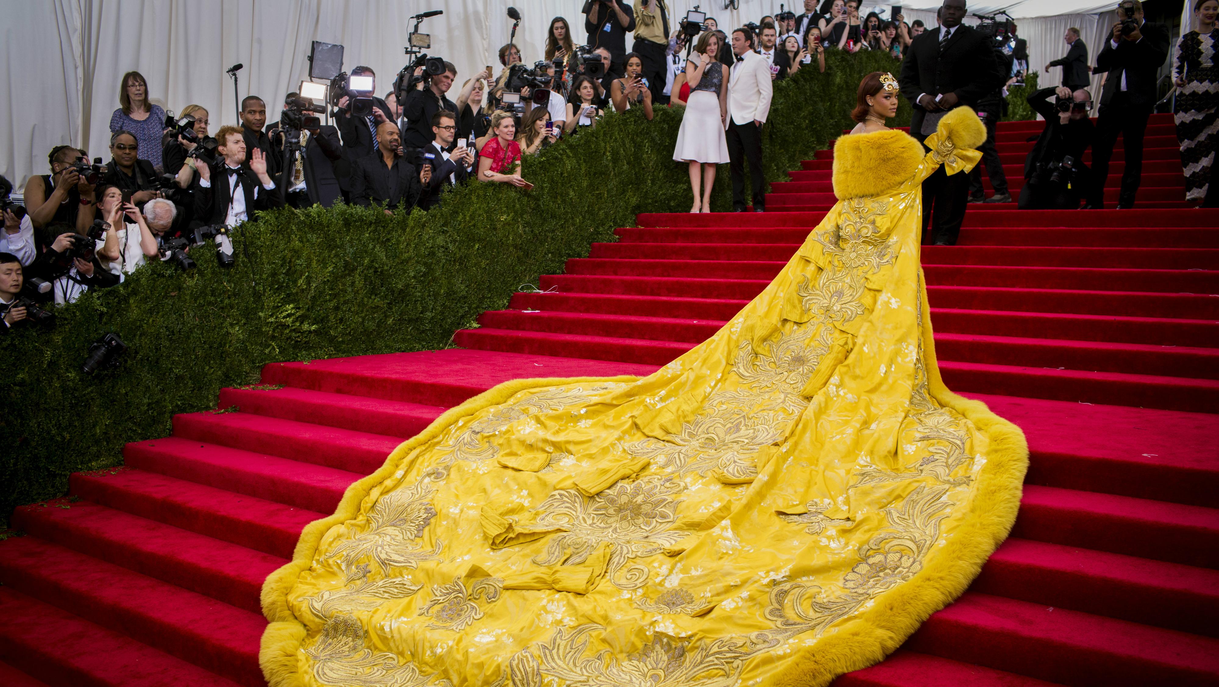 Rihanna entering the Met Gala.
