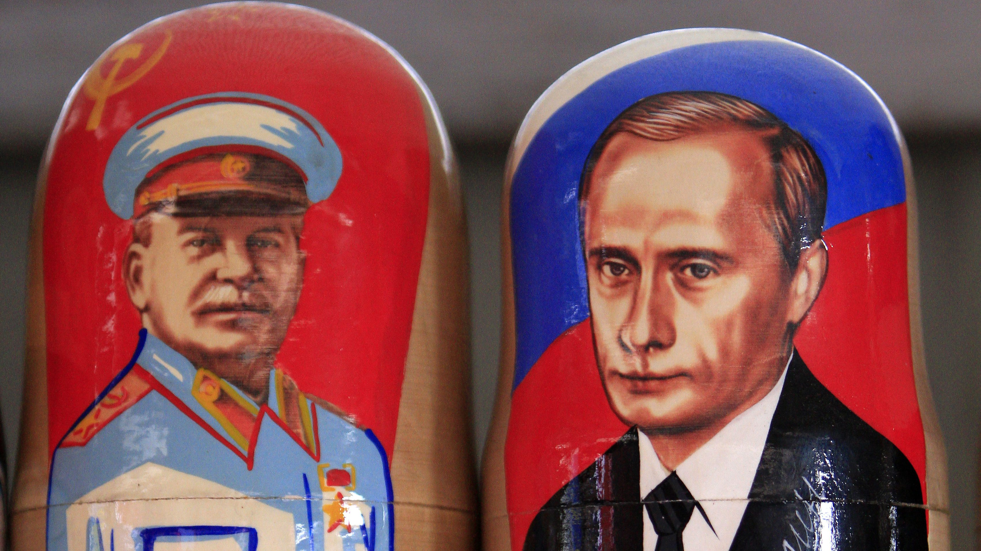 Traditional Matryoshka dolls or Russian nesting dolls bearing the faces of Russia's president elect and current Prime Minister Vladimir Putin and former Soviet dictator Josef Stalin are seen in a souvenir shop in Kiev March 5, 2012.    REUTERS/Stringer (UKRAINE  - Tags: SOCIETY)   - RTR2YWT2