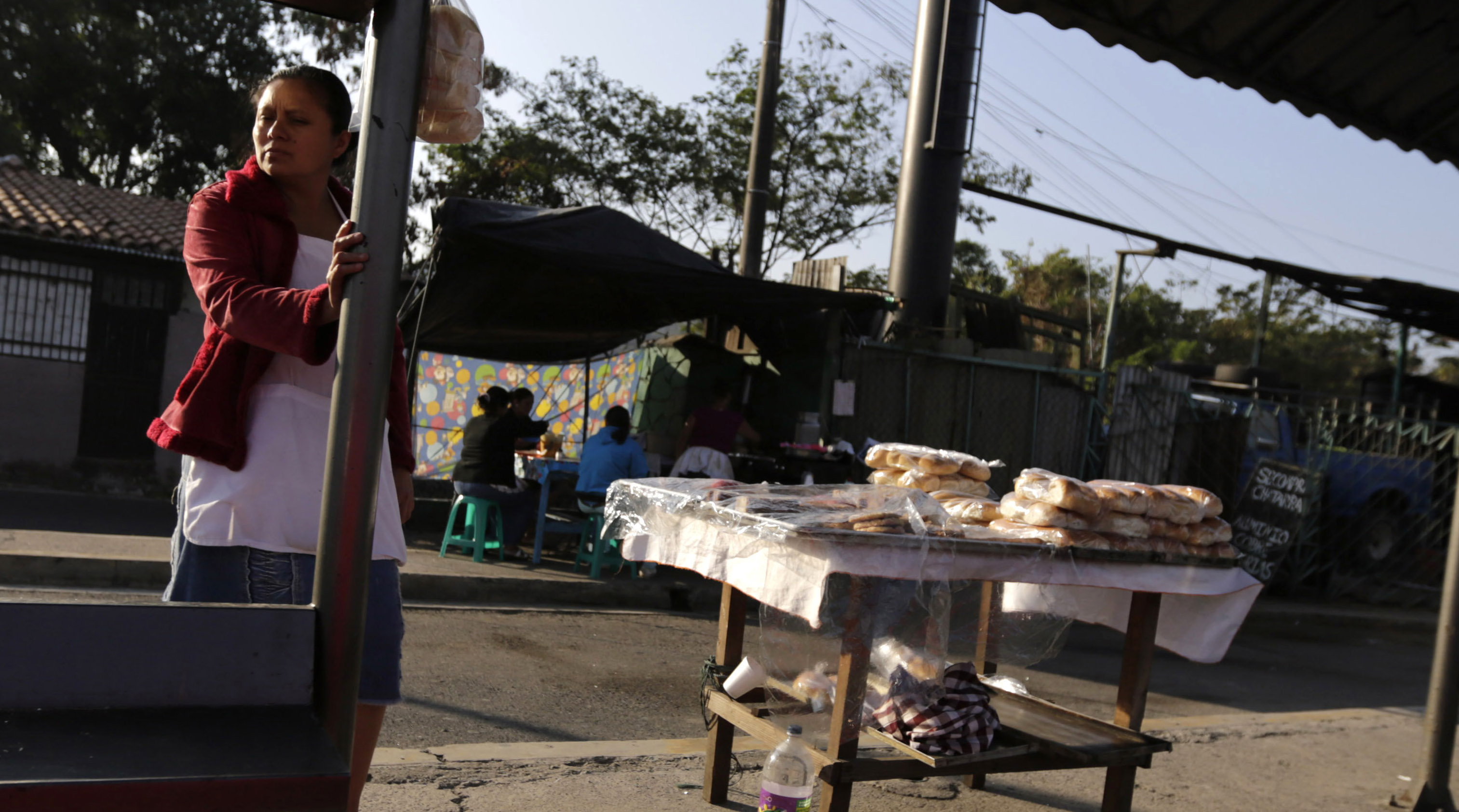 A street food vendor, who sells bread, waits for customers near in downtown San Salvador March 7, 2014. Salvadorans will go to the polls on March 9 in a second-round presidential election runoff.