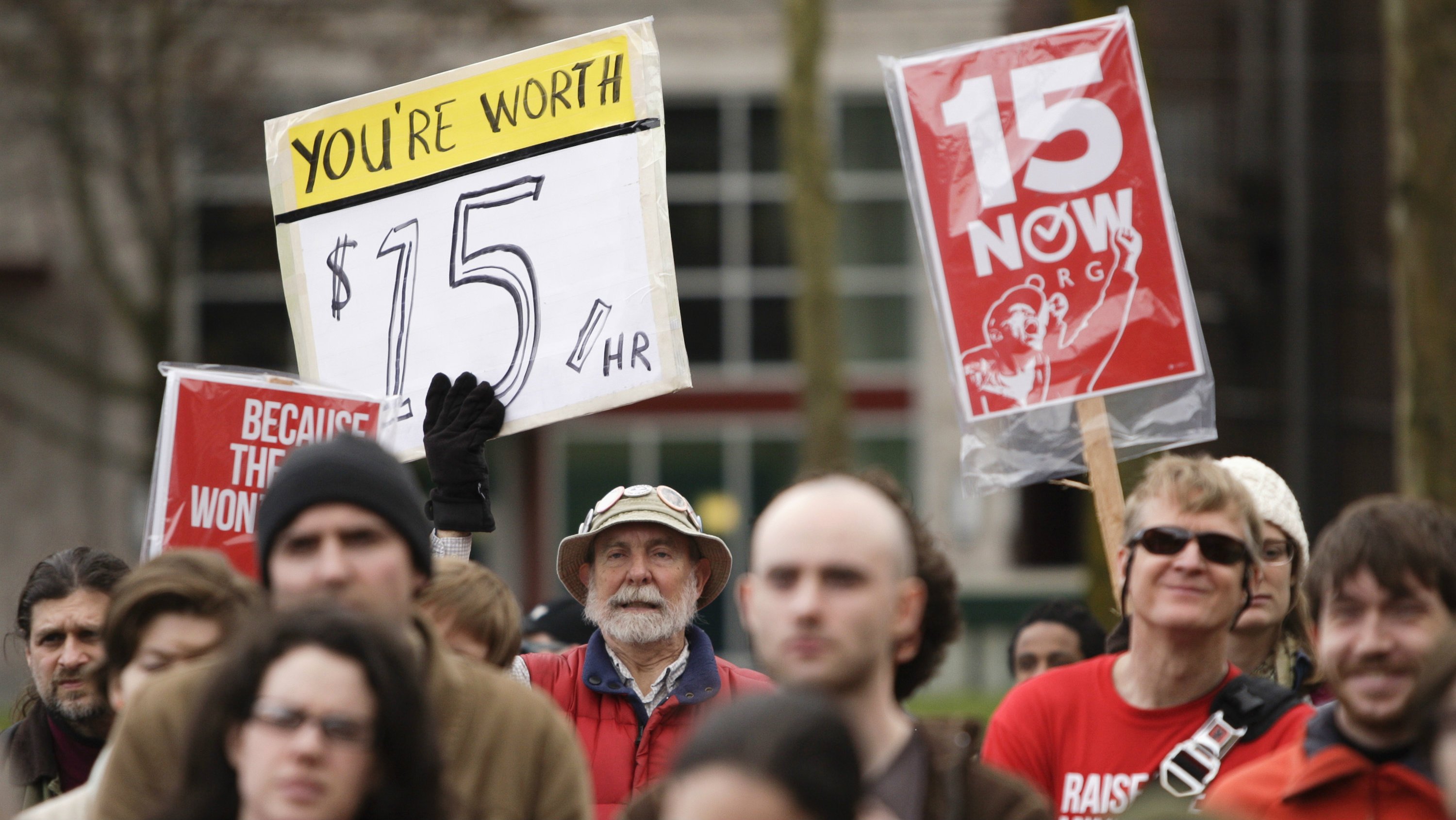 Demonstration in Seattle in favor of a $15-per-hour minimum wage