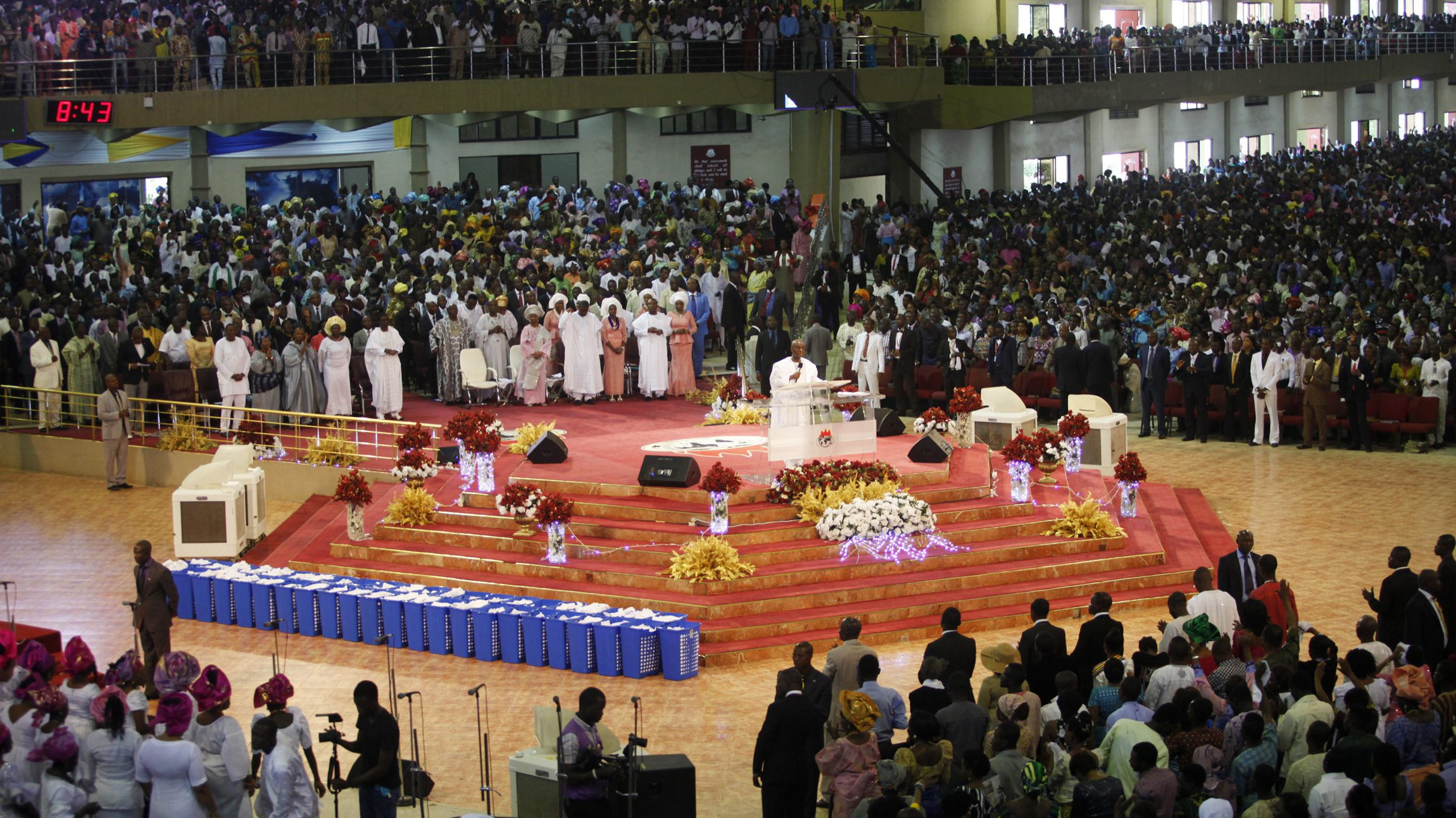 Living Faith Church, also known as Winners' Chapel, conducts a service for worshippers in the church in Ota, Nigeria.