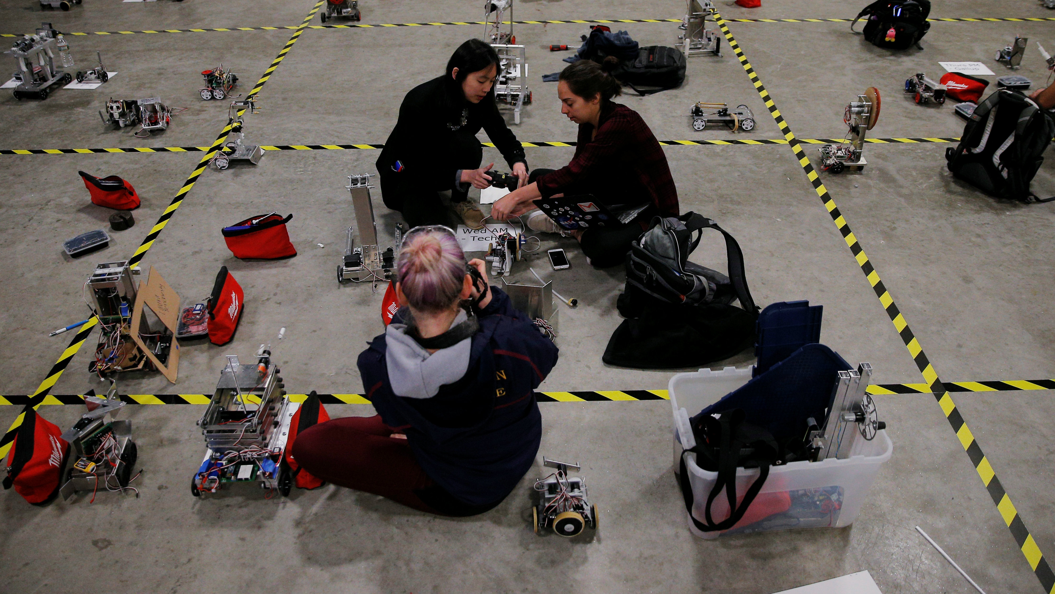 Undergraduate students from MIT's Department of Mechanical Engineering prepare to compete in the annual...
