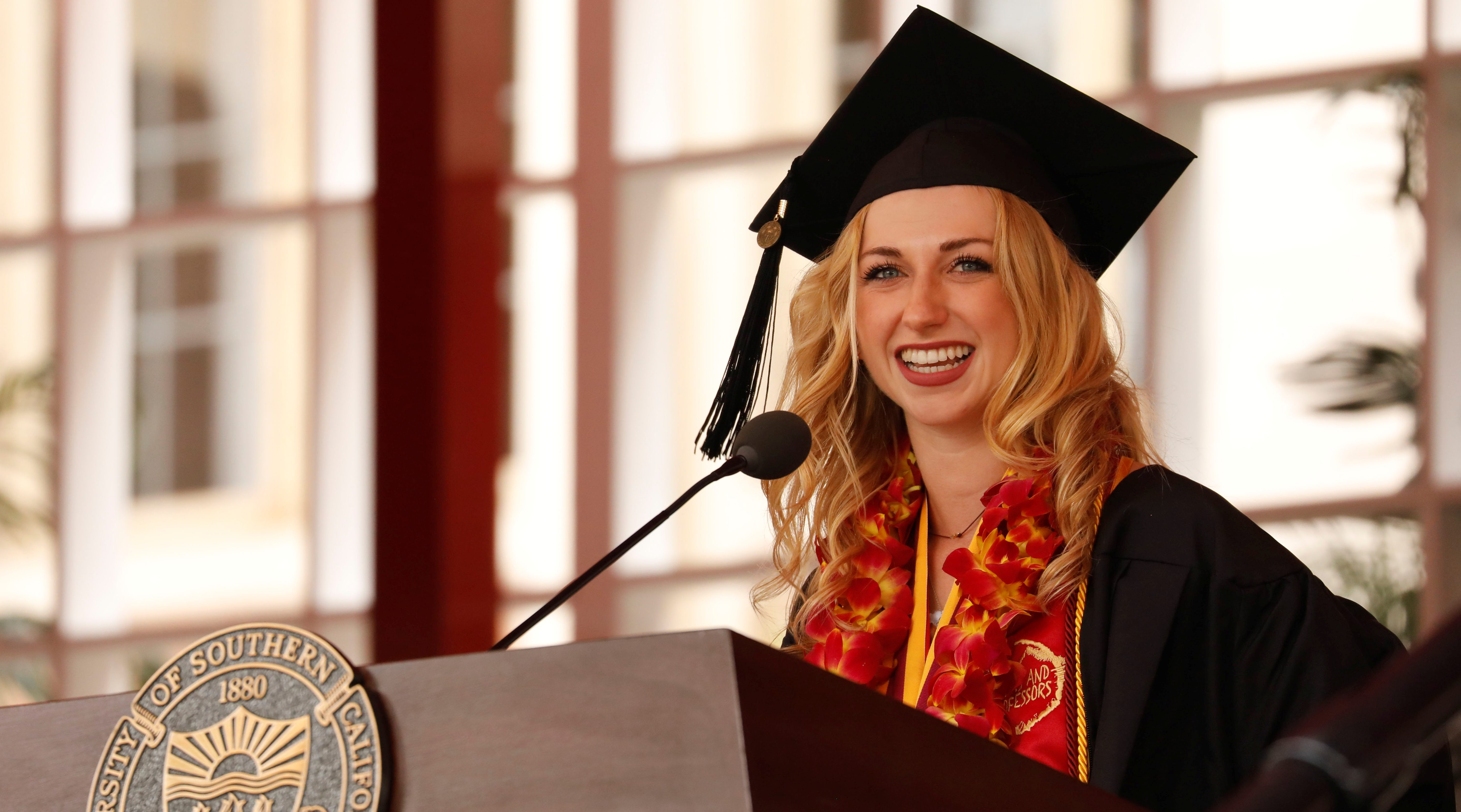 Valedictorian Cooper Nelson speaks during the commencement ceremony at the University of Southern California.