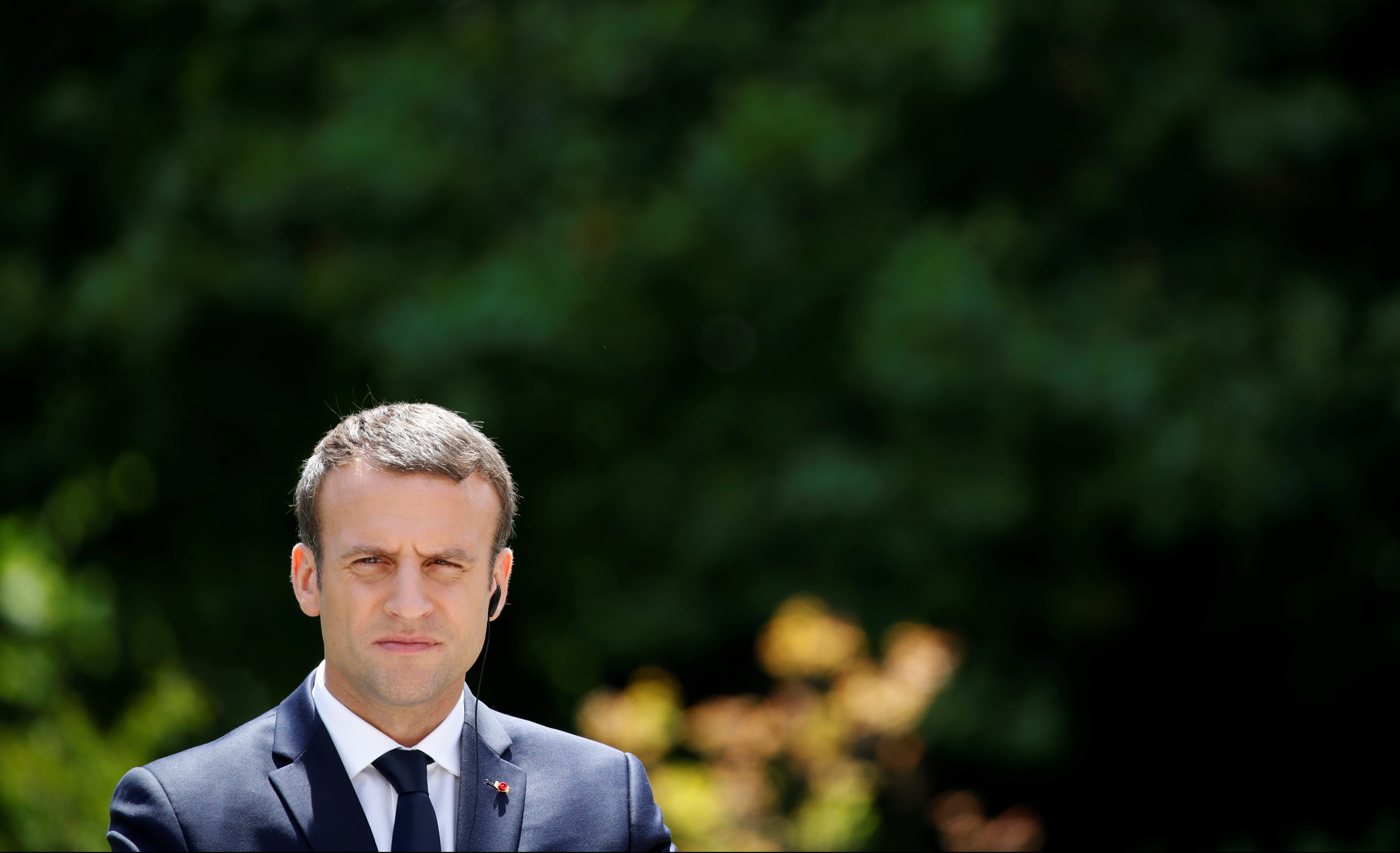 French President Emmanuel Macron is seen during a news conference at the Elysee Palace in Paris.