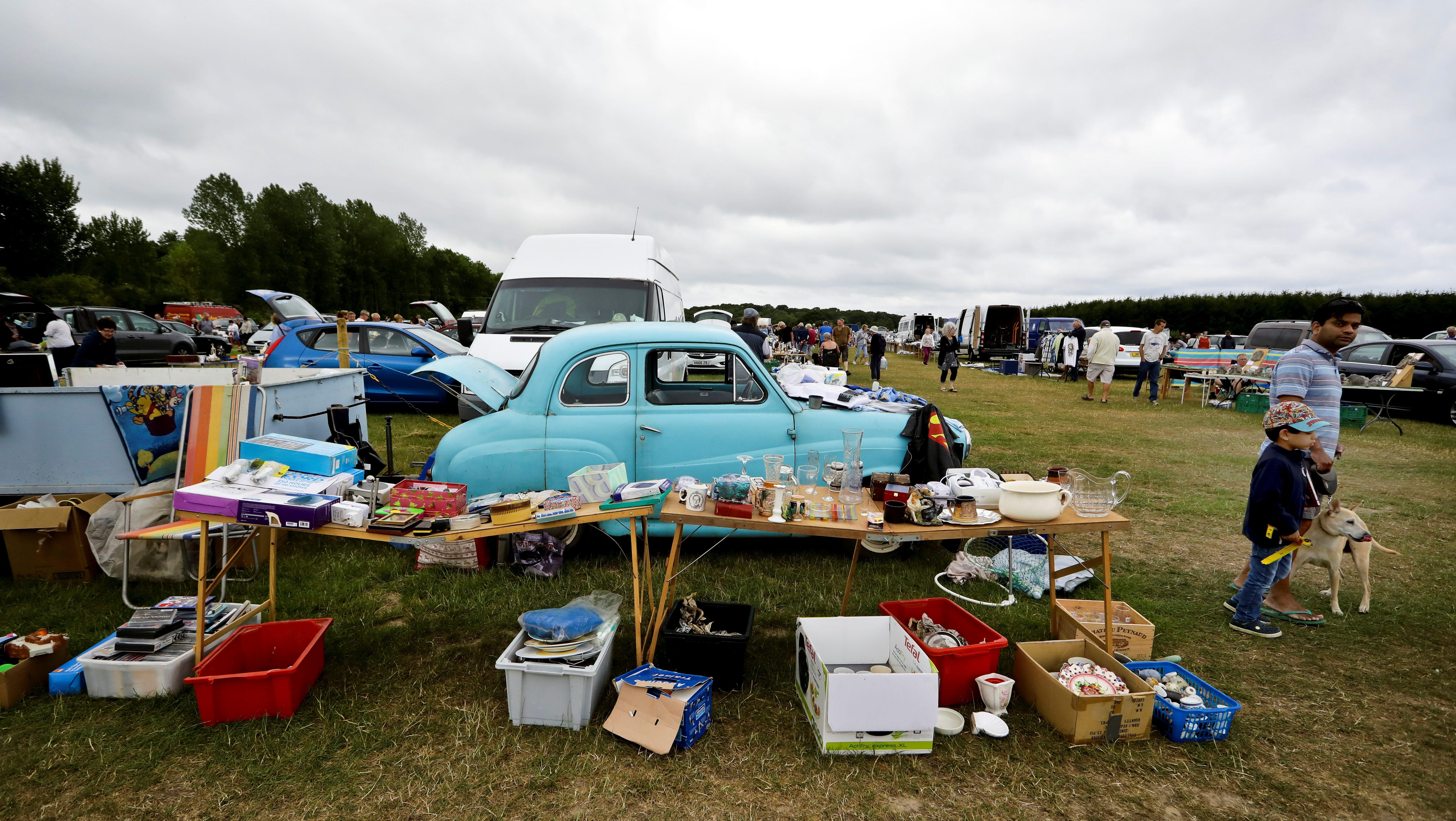 An Austin car is seen at a flea market boot fair in Lymington, Britain.