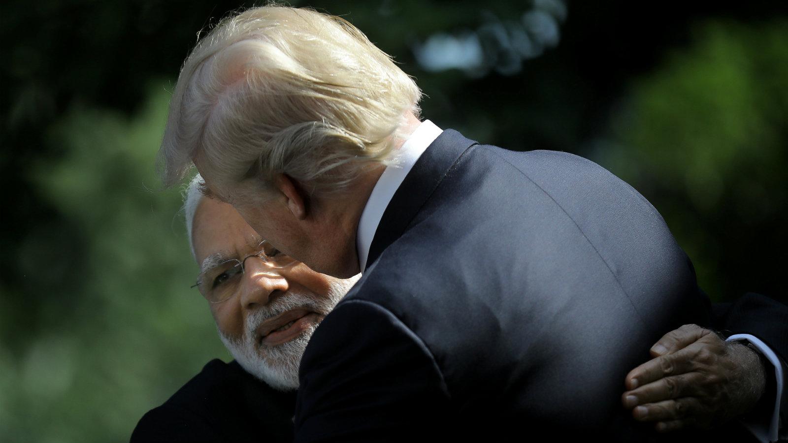 Prime minister Narendra Modi hugs US president Donald Trump in the Rose Garden of the White House in Washington on June 26, 2017.