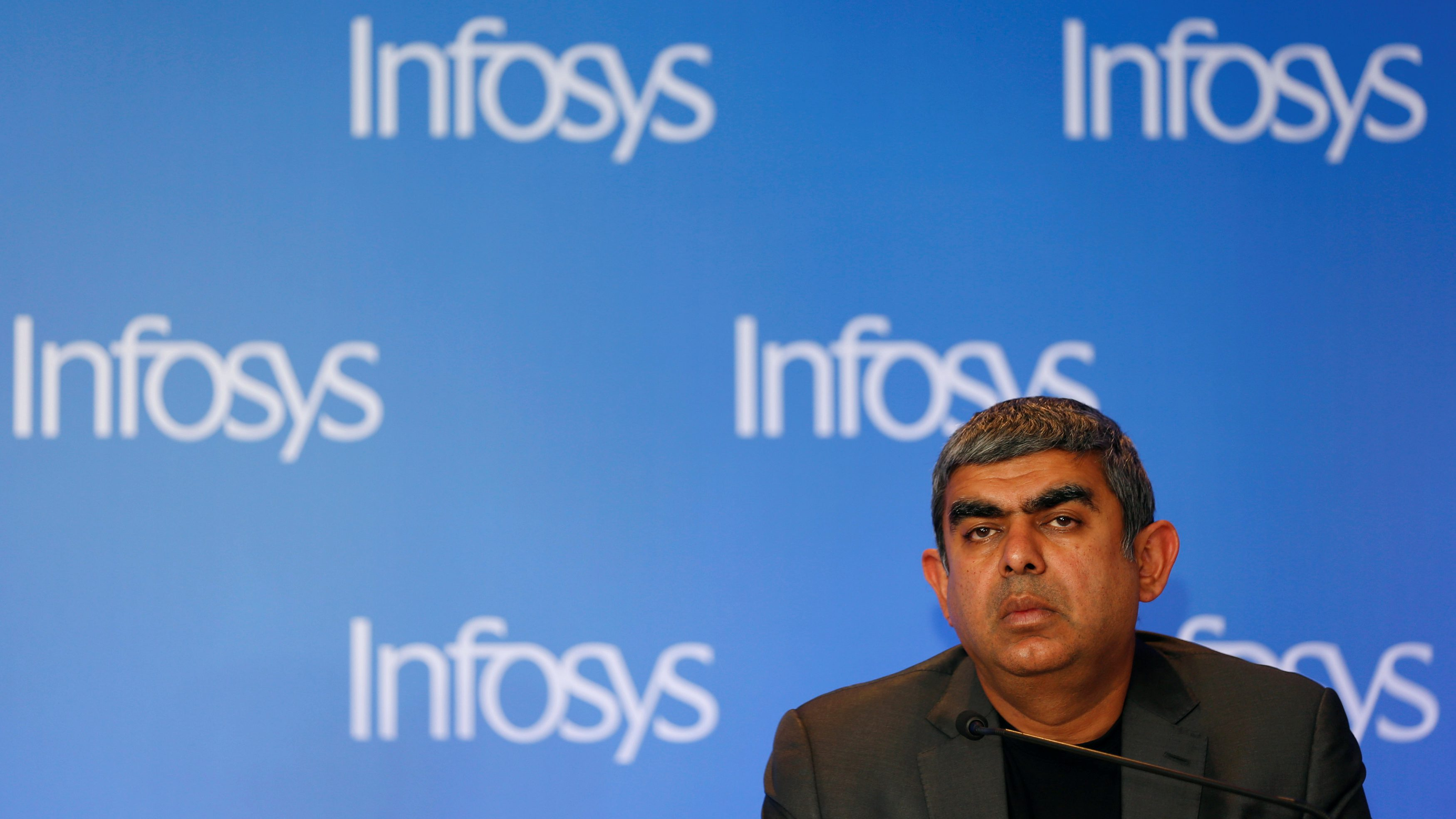 Infosys Chief Executive Vishal Sikka attends a news conference in Mumbai