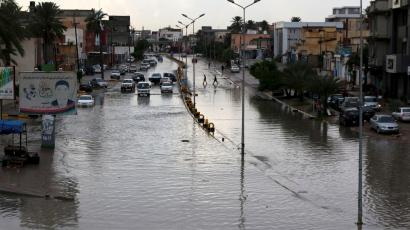 A flooded street is pictured after heavy rains caused the closure of several main streets in Libya's capital Tripoli November 6, 2015.