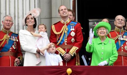 Members of the British royal family celebrating the Queen's 90th birthday