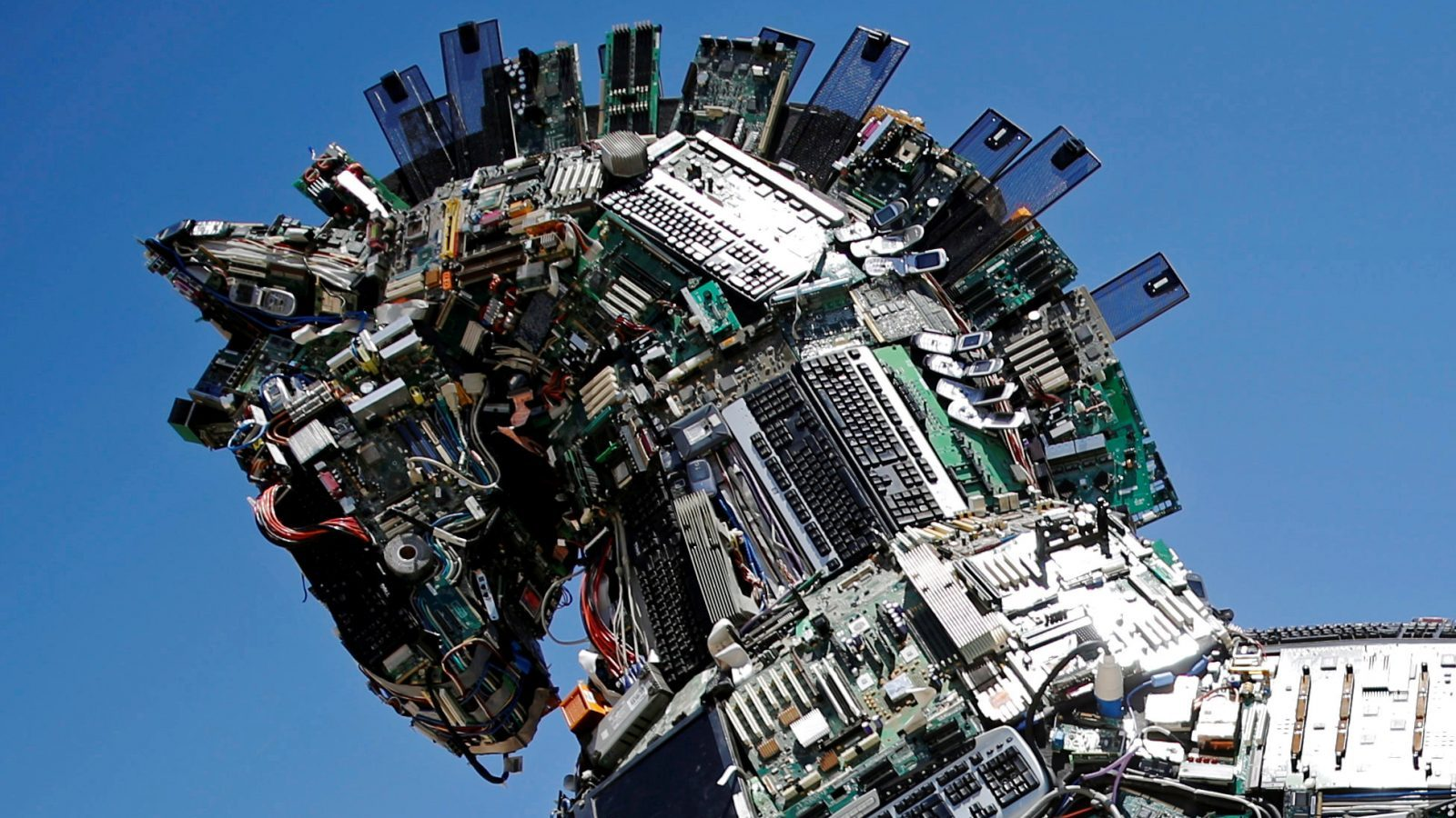 """A close-up of the head of a """"Cyber Horse"""", made from thousands of infected computer and cell phone bits, is seen on display at the entrance to the annual Cyberweek conference at Tel Aviv University, Israel June 20, 2016. REUTERS/Amir Cohen/File Photo - RTX2HJV3"""