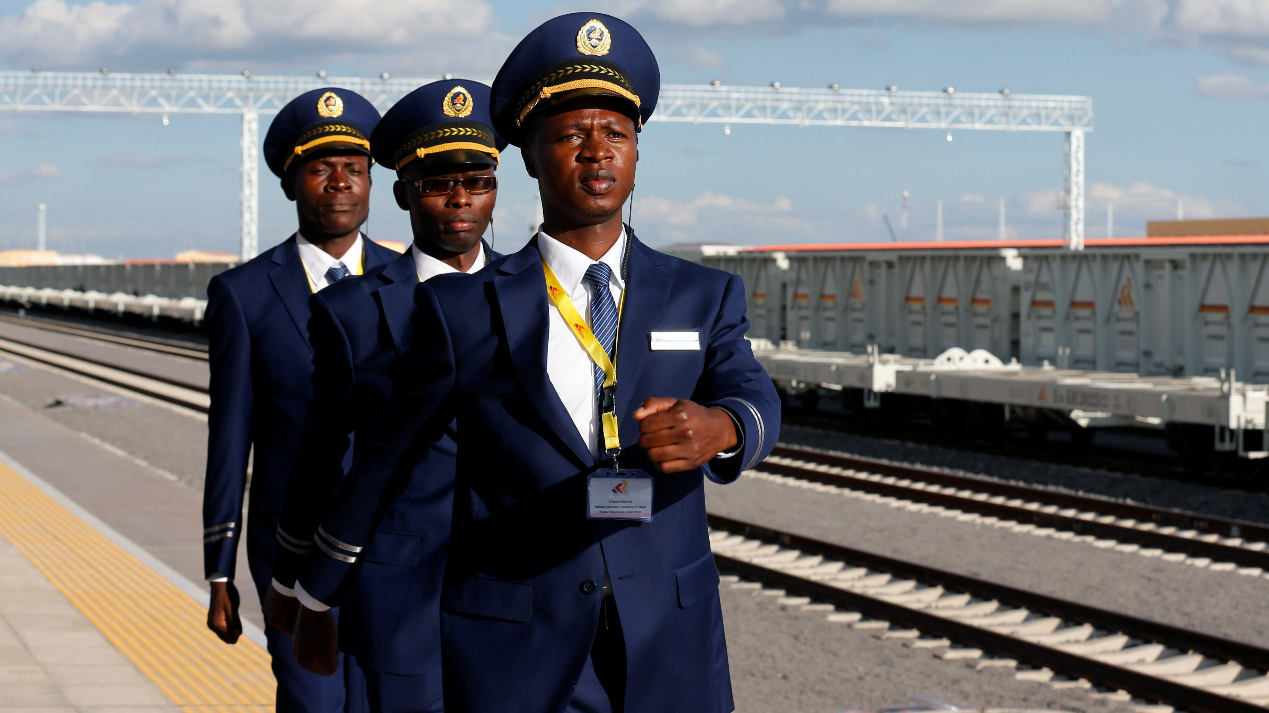 Kenya Railways attendants prepare to receive a train launched to operate on the Standard Gauge Railway (SGR) line constructed by the China Road and Bridge Corporation (CRBC) and financed by Chinese government at the Nairobi Terminus in the outskirts of Kenya's capital Nairobi May 31, 2017.