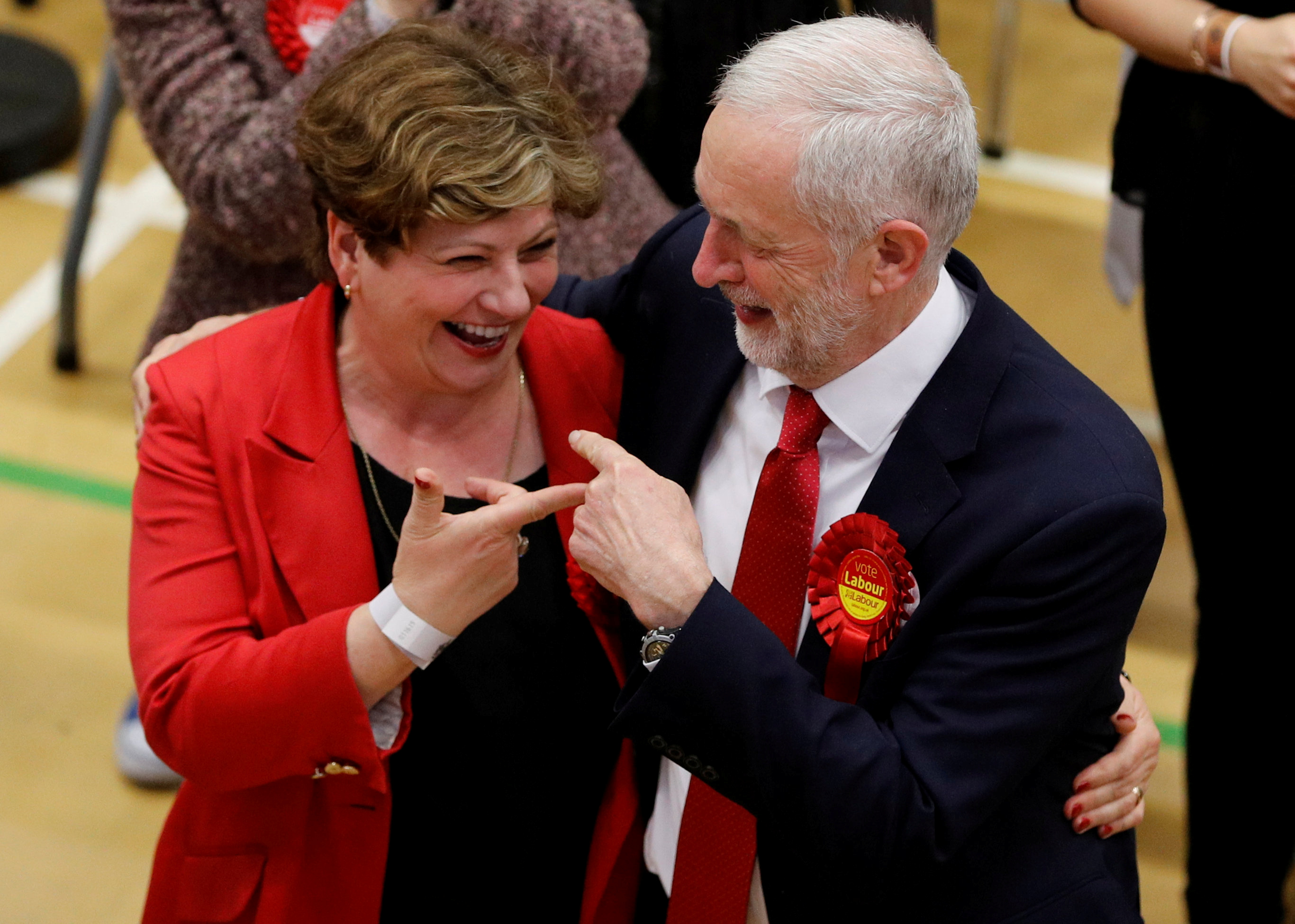 British Labour Party leader Jeremy Corbyn with Emily Thornberry at a General Election count