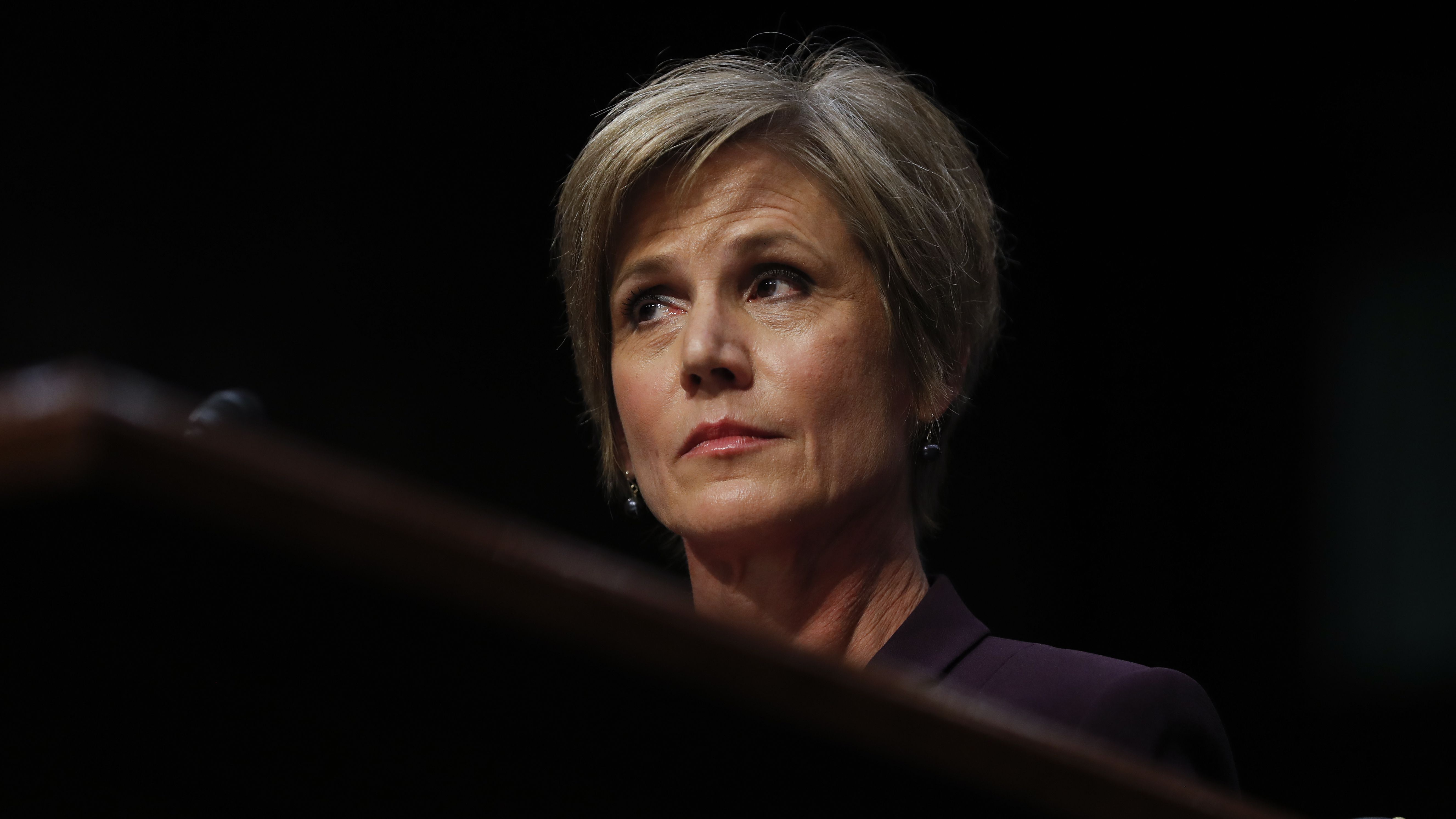 """Former acting Attorney General Sally Yates listens on Capitol Hill in Washington, Monday, May 8, 2017, while testifying before the Senate Judiciary subcommittee on Crime and Terrorism hearing: """"Russian Interference in the 2016 United States Election."""" (AP Photo/Carolyn Kaster)"""