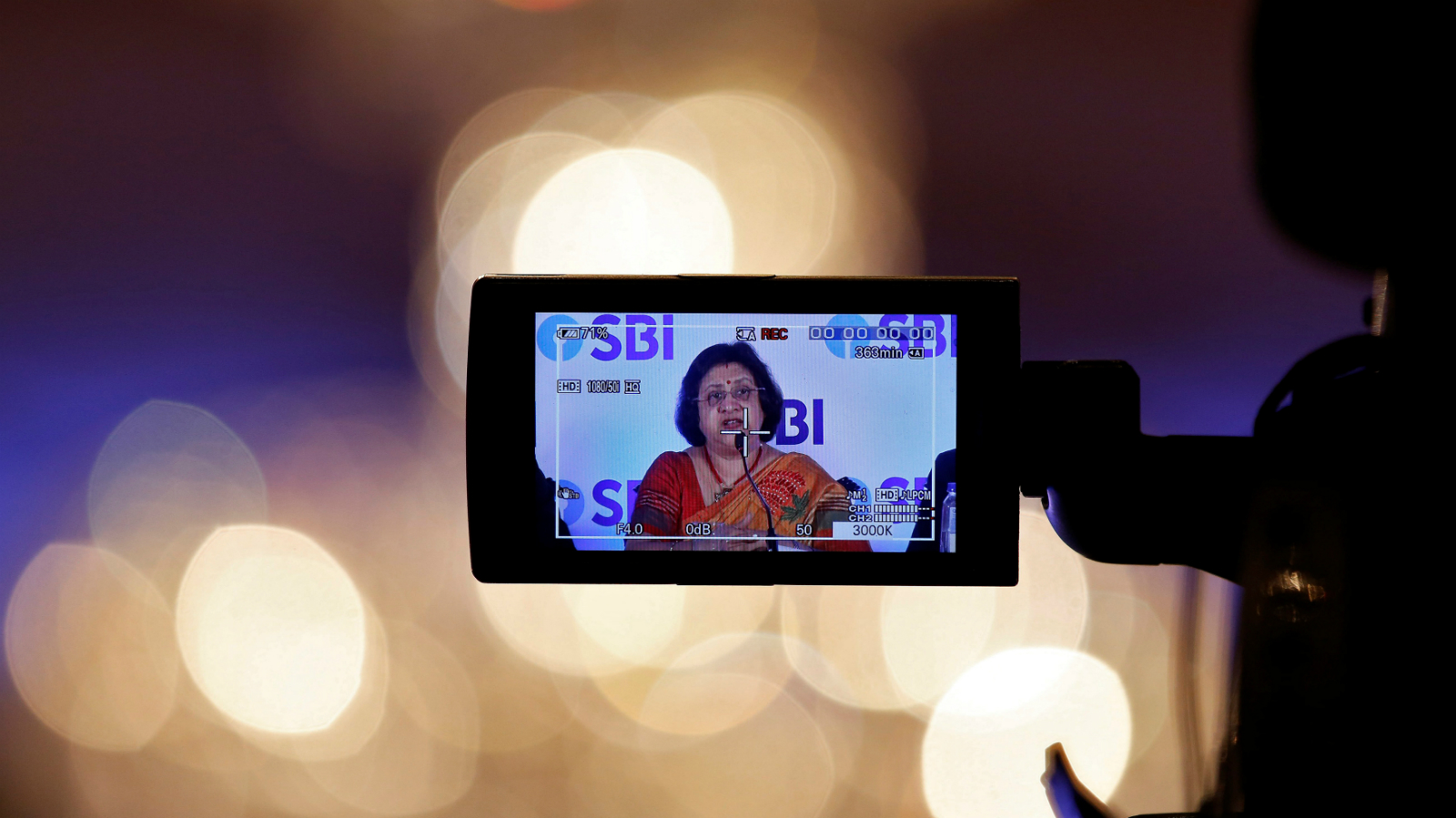 State Bank of India (SBI) chairwoman Arundhati Bhattacharya is seen in a TV camera's viewfinder as she speaks at a news conference after the announcement of SBI's fourth quarter results, in Kolkata, India, May 19, 2017.
