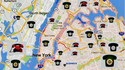 NY map with phones.