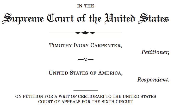 Carpenter Appeal to US Supreme