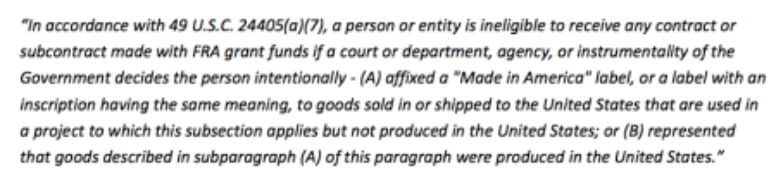 Federal Railroad Administration sentence.