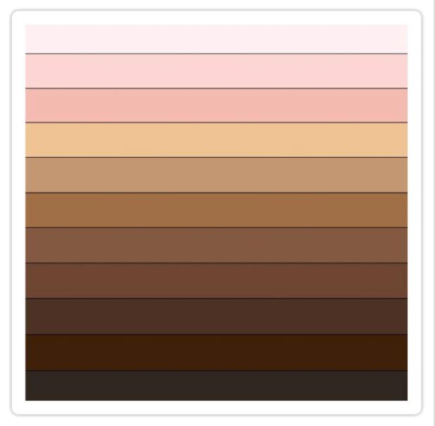 PERLA color palette to identify skin tone in Latin America