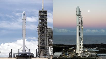 SpaceX rockets on the pad at Kennedy Space Center (L) and Vandenberg Air Force Base.