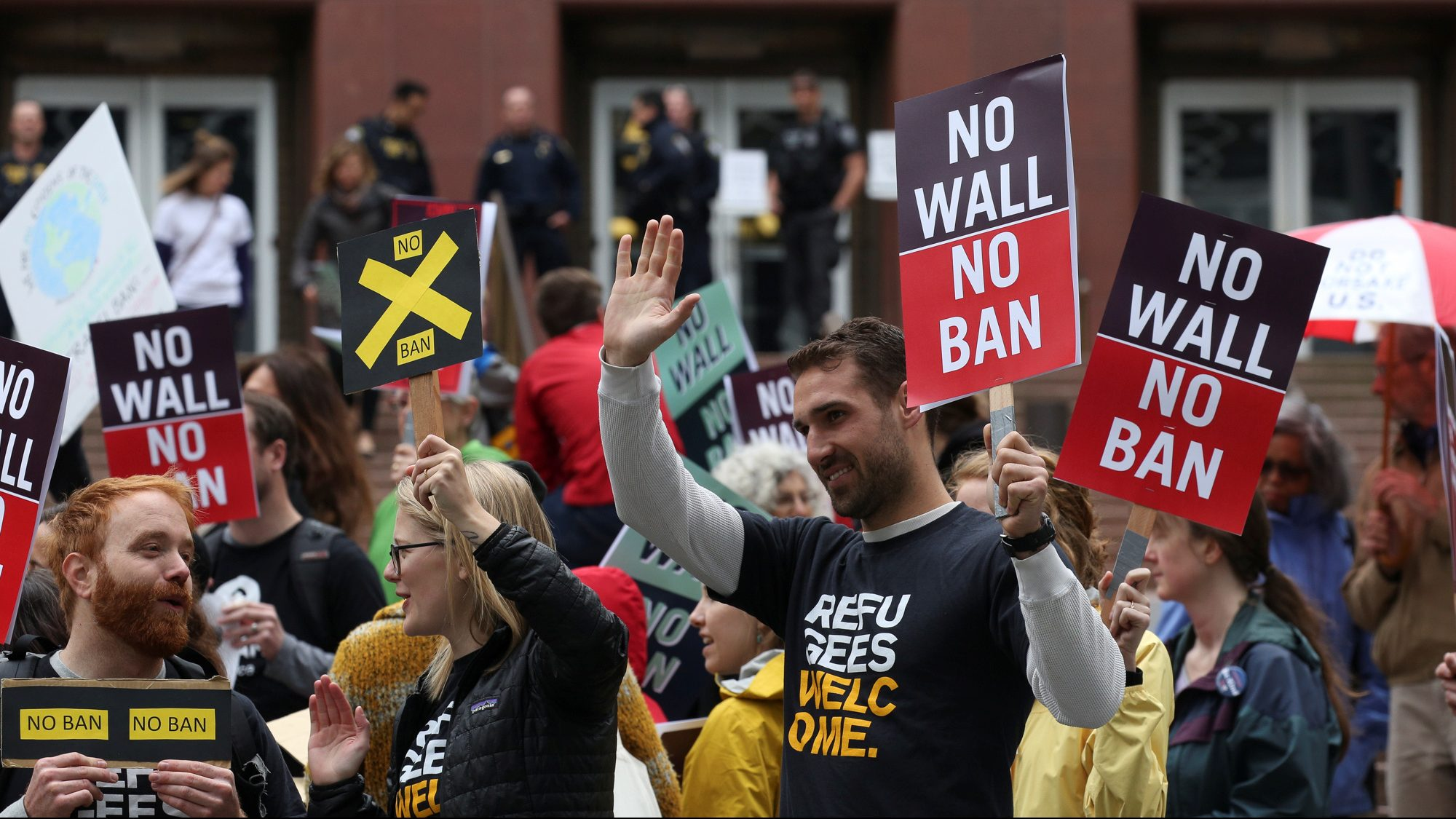 People protest U.S. President Donald Trump's travel ban