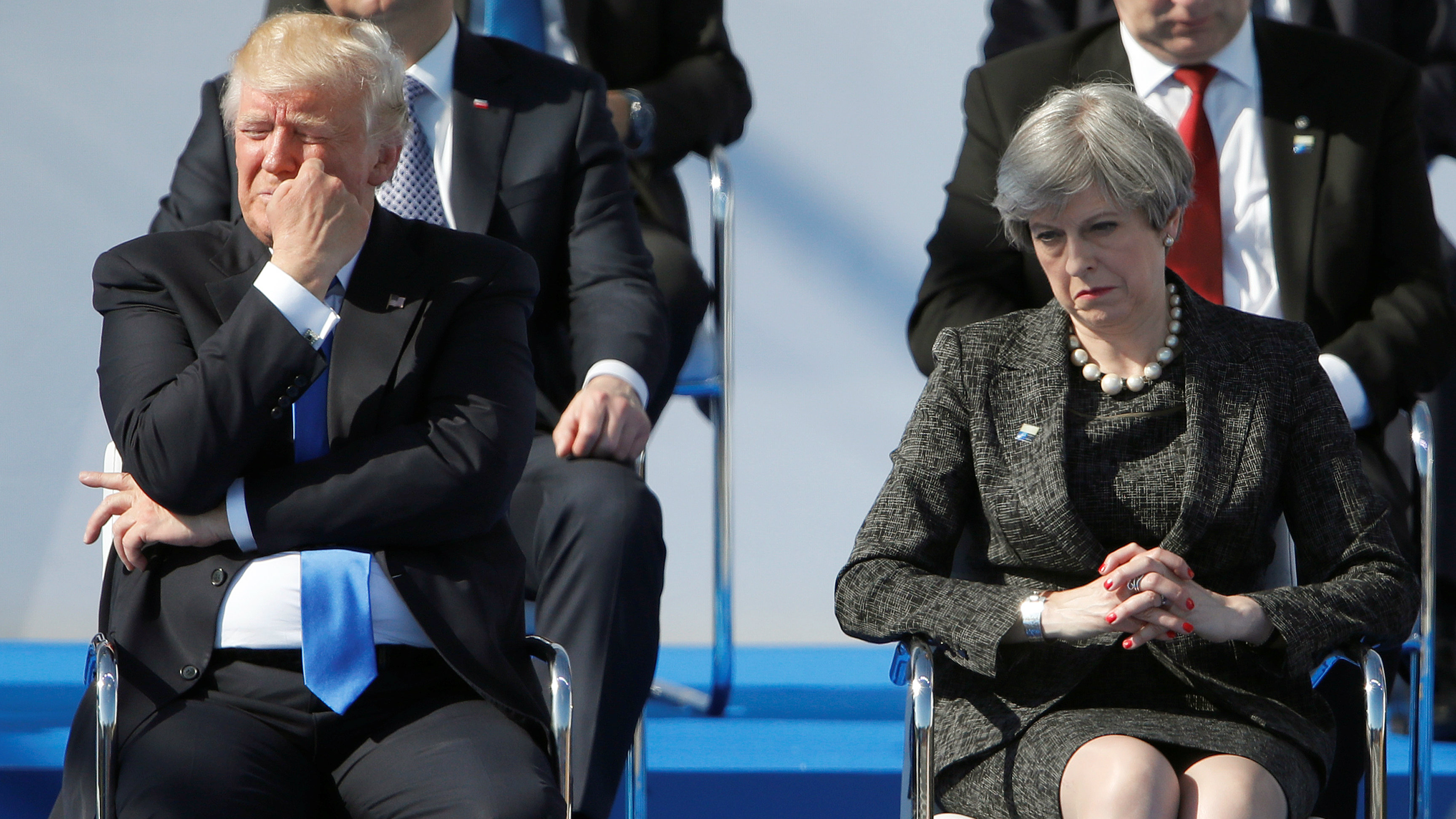 US President Donald Trump and British Prime Minister Theresa May at NATO meeting