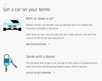 Uber's rental and lease programs with New York car dealers