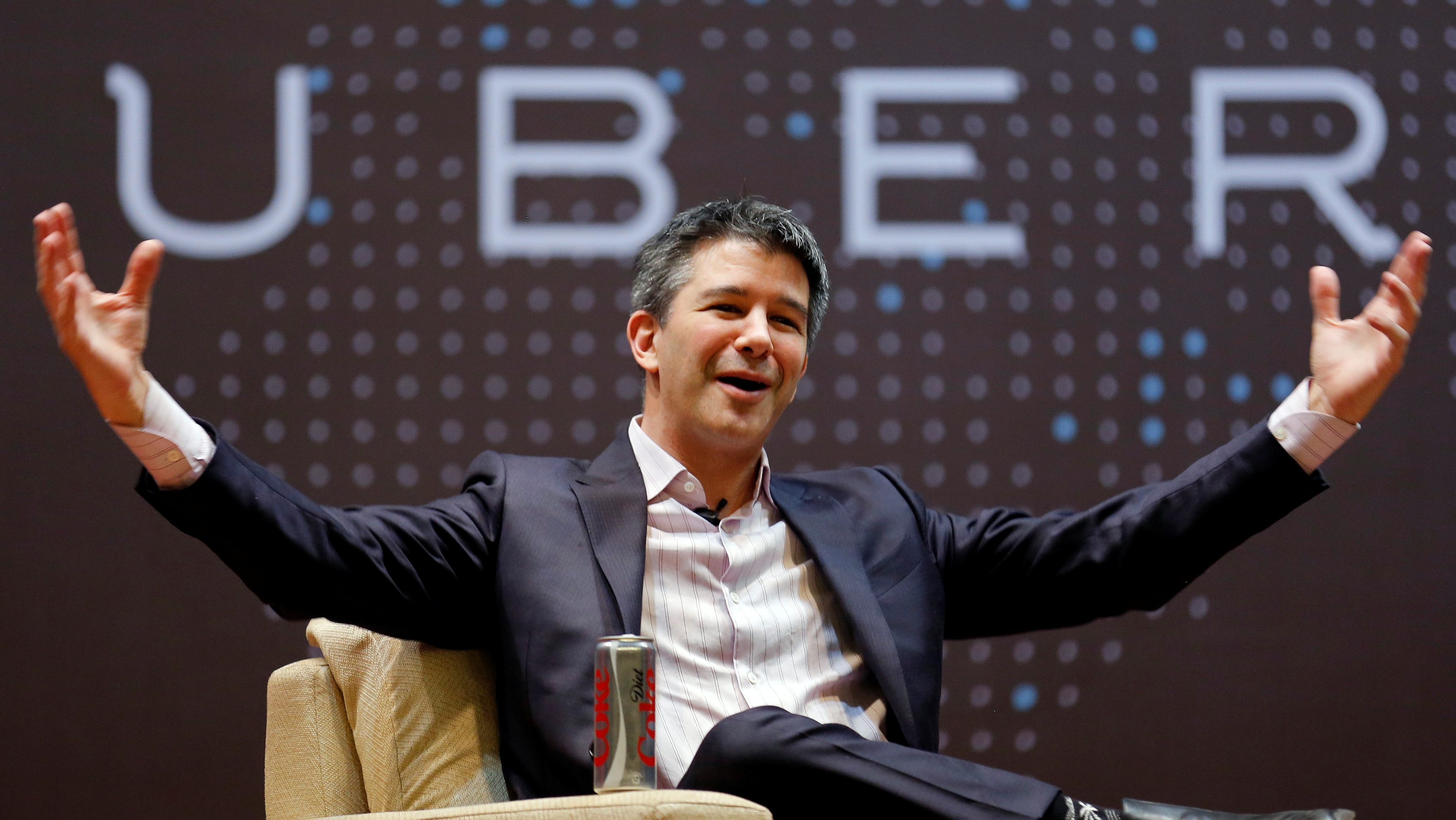 Uber CEO Travis Kalanick speaks to students during an interaction at the Indian Institute of Technology (IIT) campus in Mumbai, India, January 19, 2016.