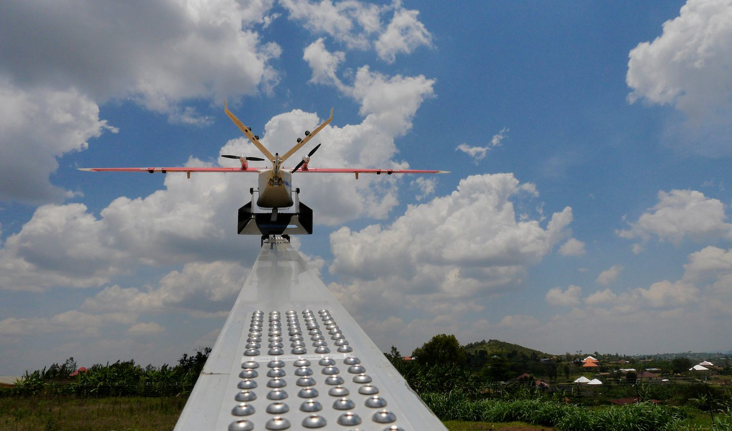 A drone is placed on a launch pad at operations center in Muhanda, south of Rwanda's capital Kigali where Zipline, a California-based robotics company delivered their first blood to patients using a drone October 12, 2016. Picture taken October 12, 2016.