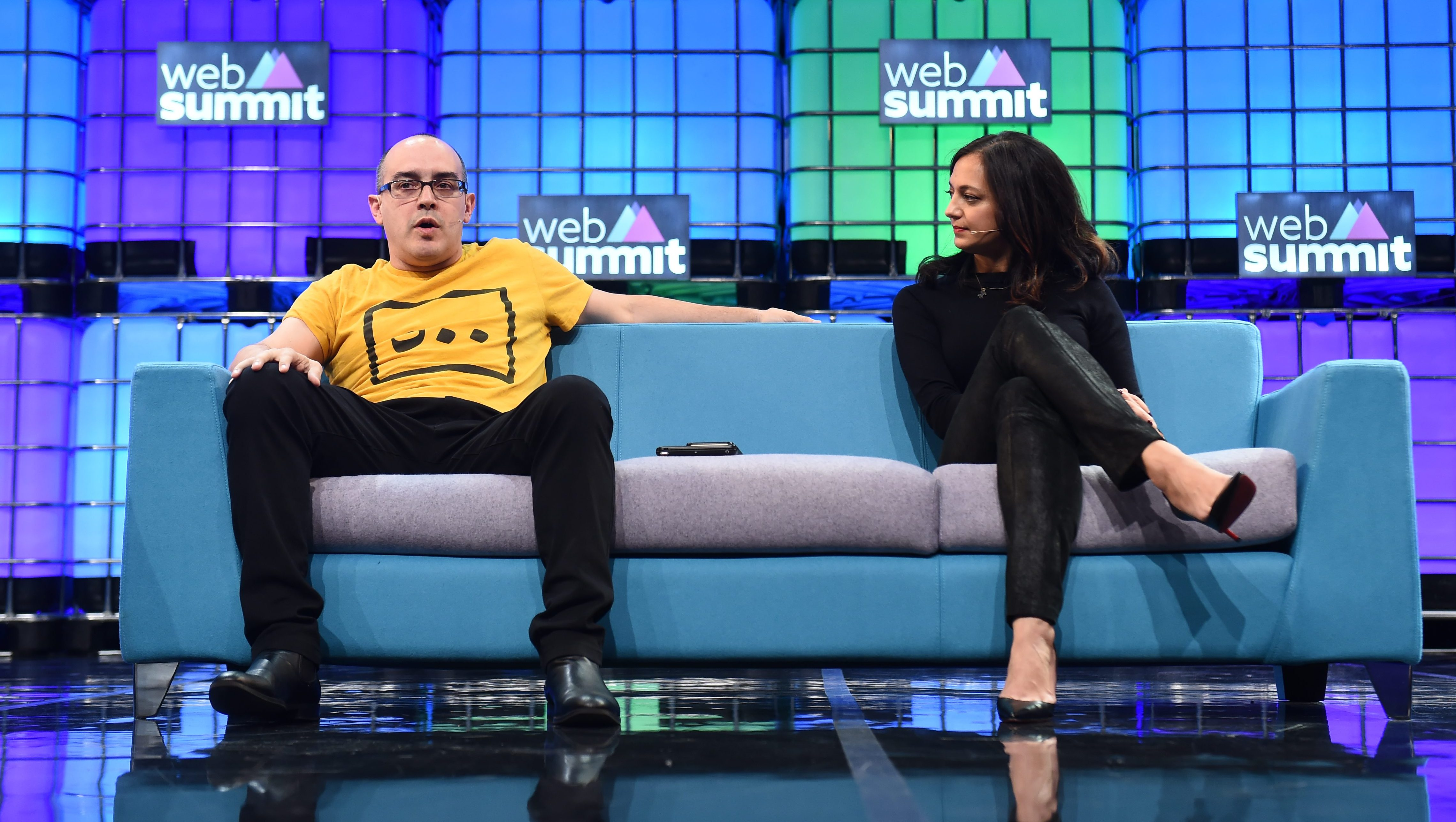 4 November 2015; Dave McClure, Founder, 500 Startups, and Jalak Jobanputra, Founding Partner, FuturePerfect Ventures, on the Centre Stage during Day 2 of the 2015 Web Summit in the RDS, Dublin, Ireland. Picture credit: Stephen McCarthy / SPORTSFILE / Web Summit