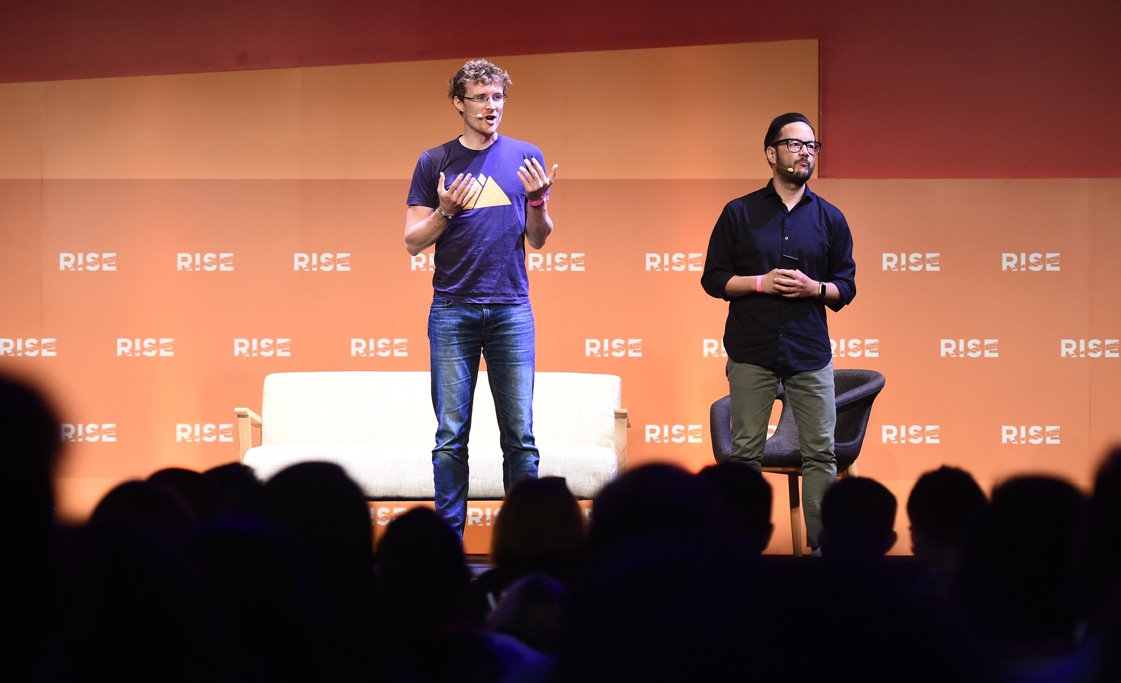 11 July 2017; ; Paddy Cosgrave, left, Co-Founder & CEO, RISE & Web Summit, and Casey Lau, Founder of StartupsHK on stage during the opening day of RISE 2017 in Hong Kong. Photo by Stephen McCarthy / RISE / Sportsfile