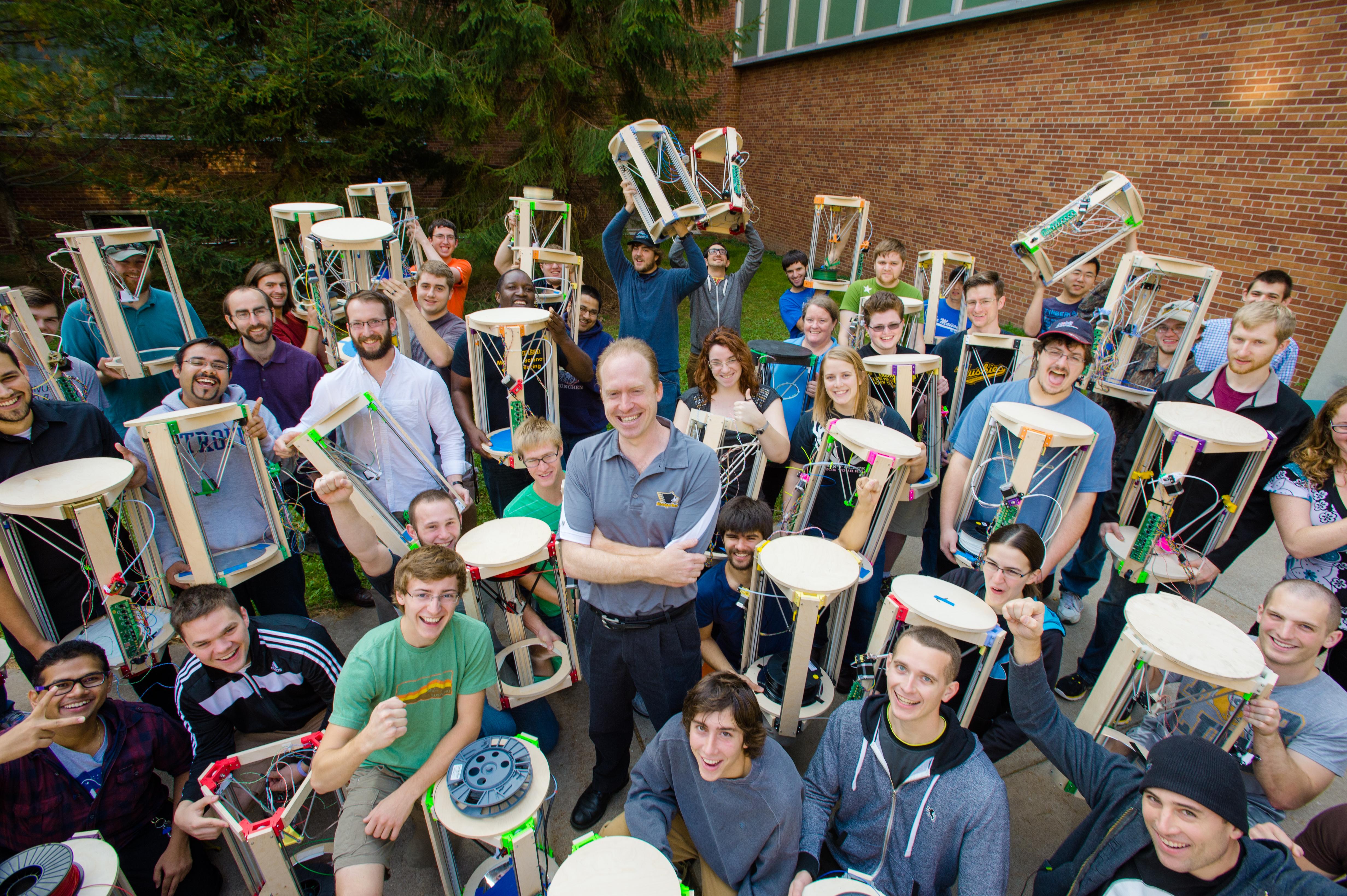 Joshua Pearce and the 3-D Printing Lab at Michigan Tech circa 2015.