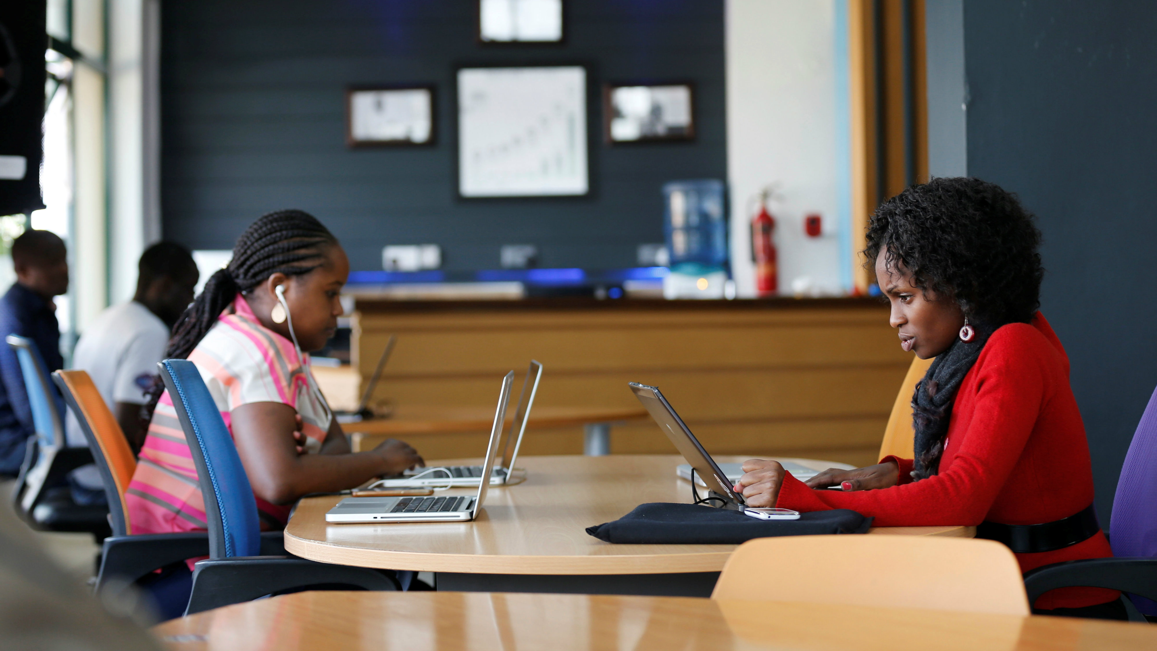 Entrepreneurs work on their projects at Nailab, a Kenyan firm that supports technology startups in Nairobi.