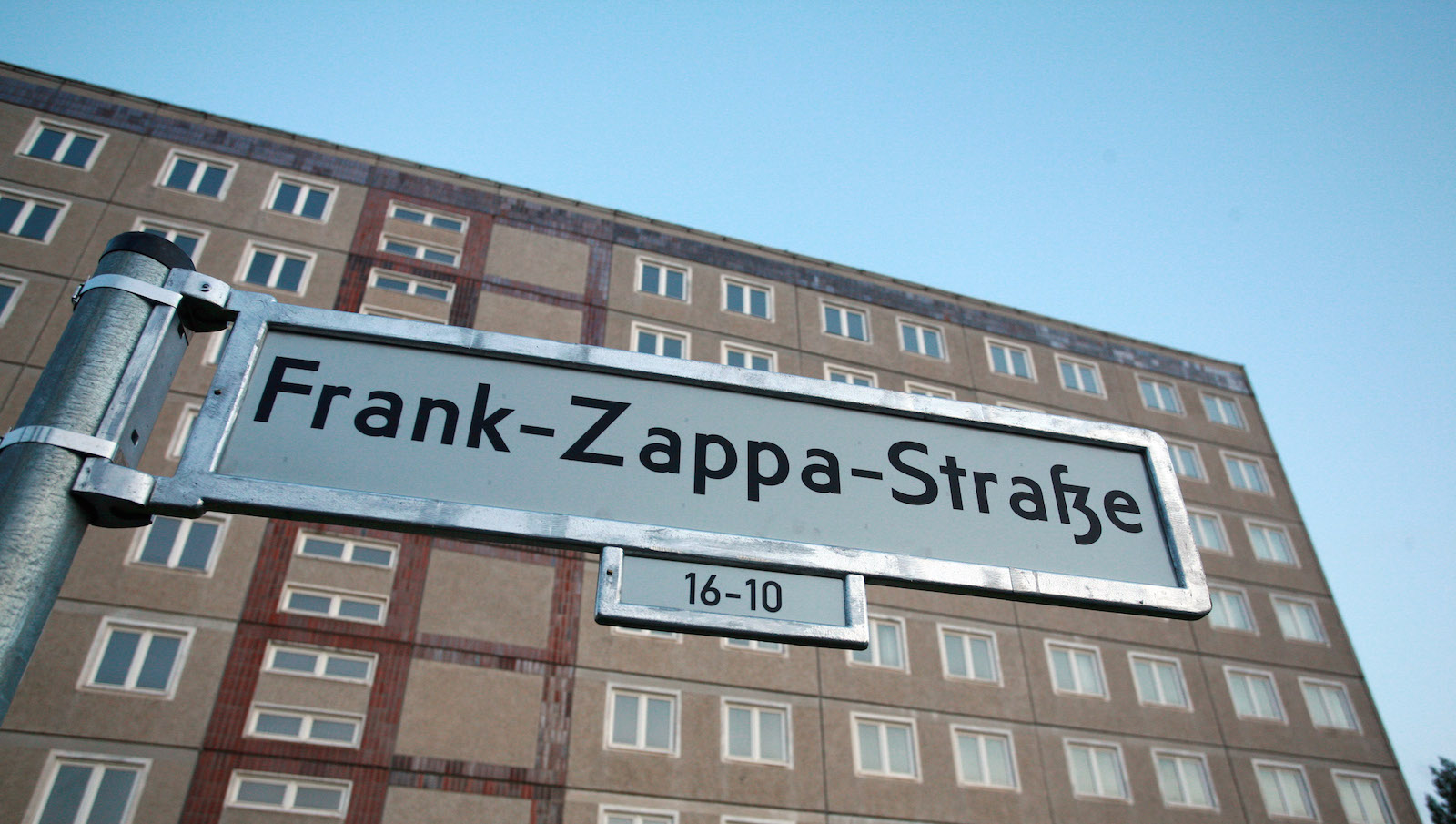"""Frank Zappa Street"" in Berlin, Germany featuring the German letter eszett. (AP Photo/Miguel Villagran)"