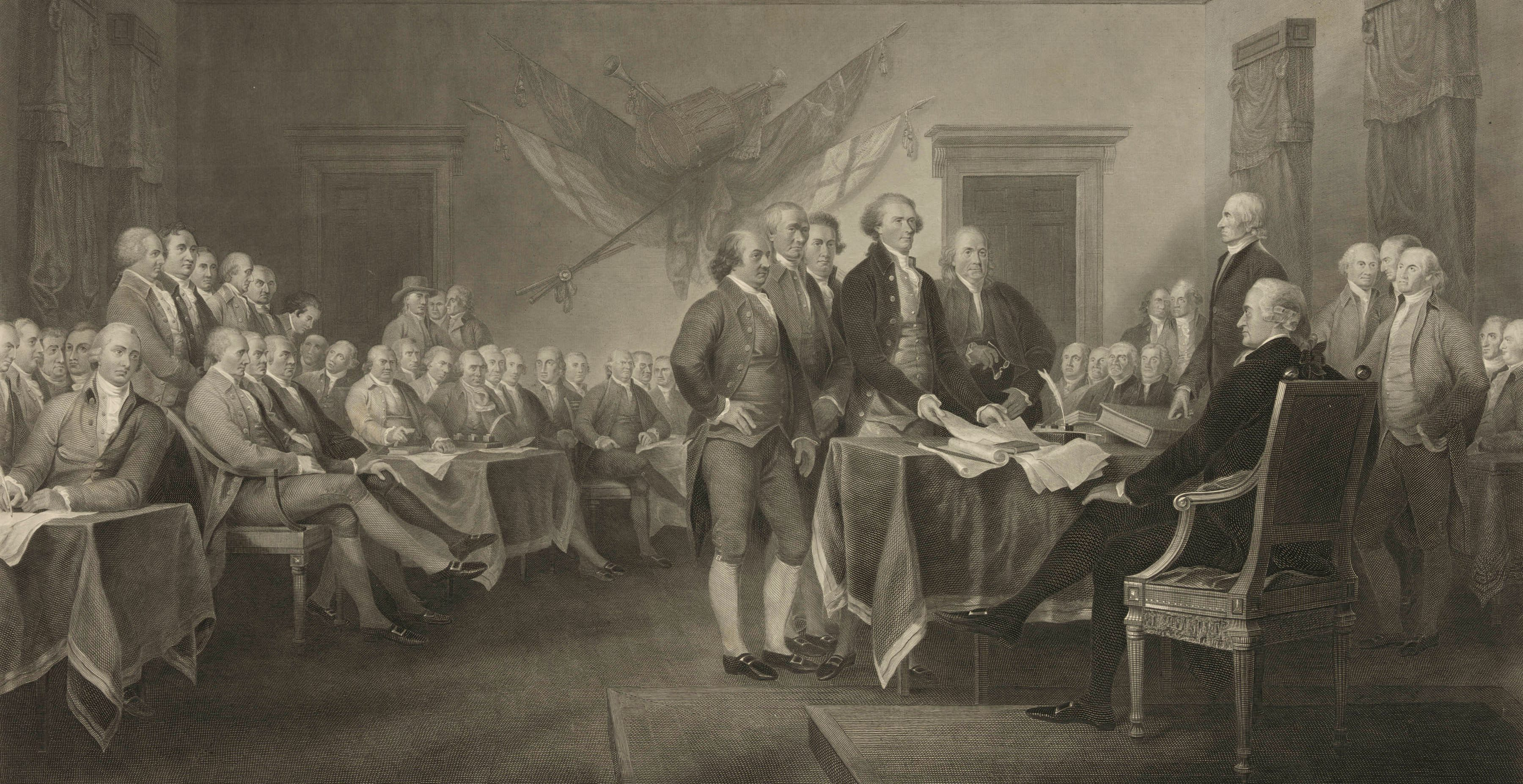 "This 1876 engraving by W.L. Ormsby shows a version of the painting ""Declaration of Independence, July 4th, 1776"" by John Trumbull. To many, the notion of white men being marginalized in the early 21st century is ludicrous, their history seemingly a study in power and privilege, from the Founding Fathers to the ""Mad Men"" era and up through their continued dominance in boardrooms and government. Yet, they have suffered some real losses, even as they maintain advantages. (W.L. Ormsby/Library of Congress via AP)"