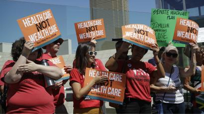People protesting health care in Las Vegas