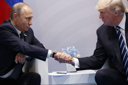 President Donald Trump shakes hands with Russian President Vladimir Putin at the G20 Summit