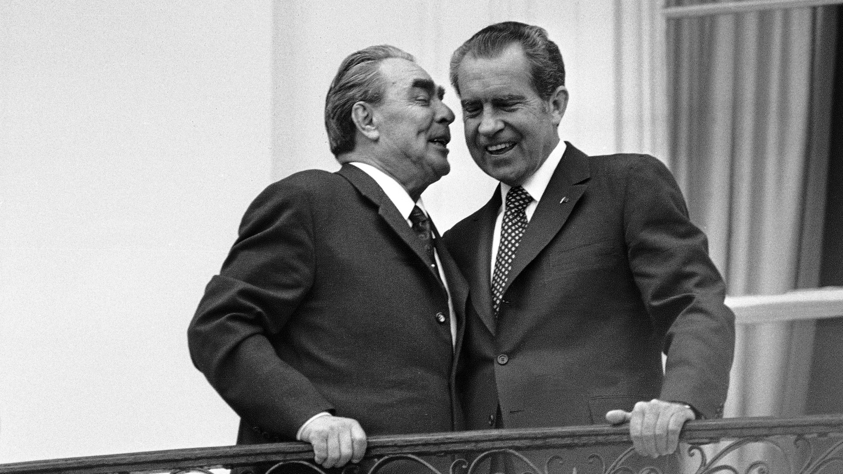In this June 18,1973 file photo, Soviet leader Leonid I. Brezhnev, left, whispers in the ear of President Richard M. Nixon as the two leaders stand on a balcony at the White House in Washington. The meeting was the only summit ever recorded on an American presidential taping system. The last 340 hours of tapes from Nixon's White House were released Wednesday, Aug. 21, 2013, along with more than 140,000 pages of text materials.