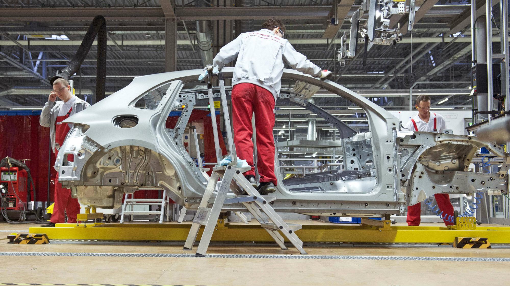 German car factory workers