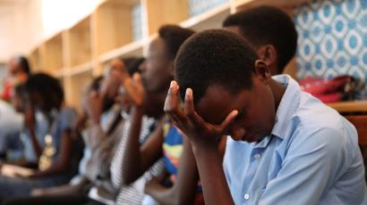 Burundian refugee school girls cry as they listen to Pakistani Nobel Peace Prize laureate Malala Yousafzai at the Mahama refugee camp, Rwanda, July 14, 2016. Picture taken July 14, 2016.