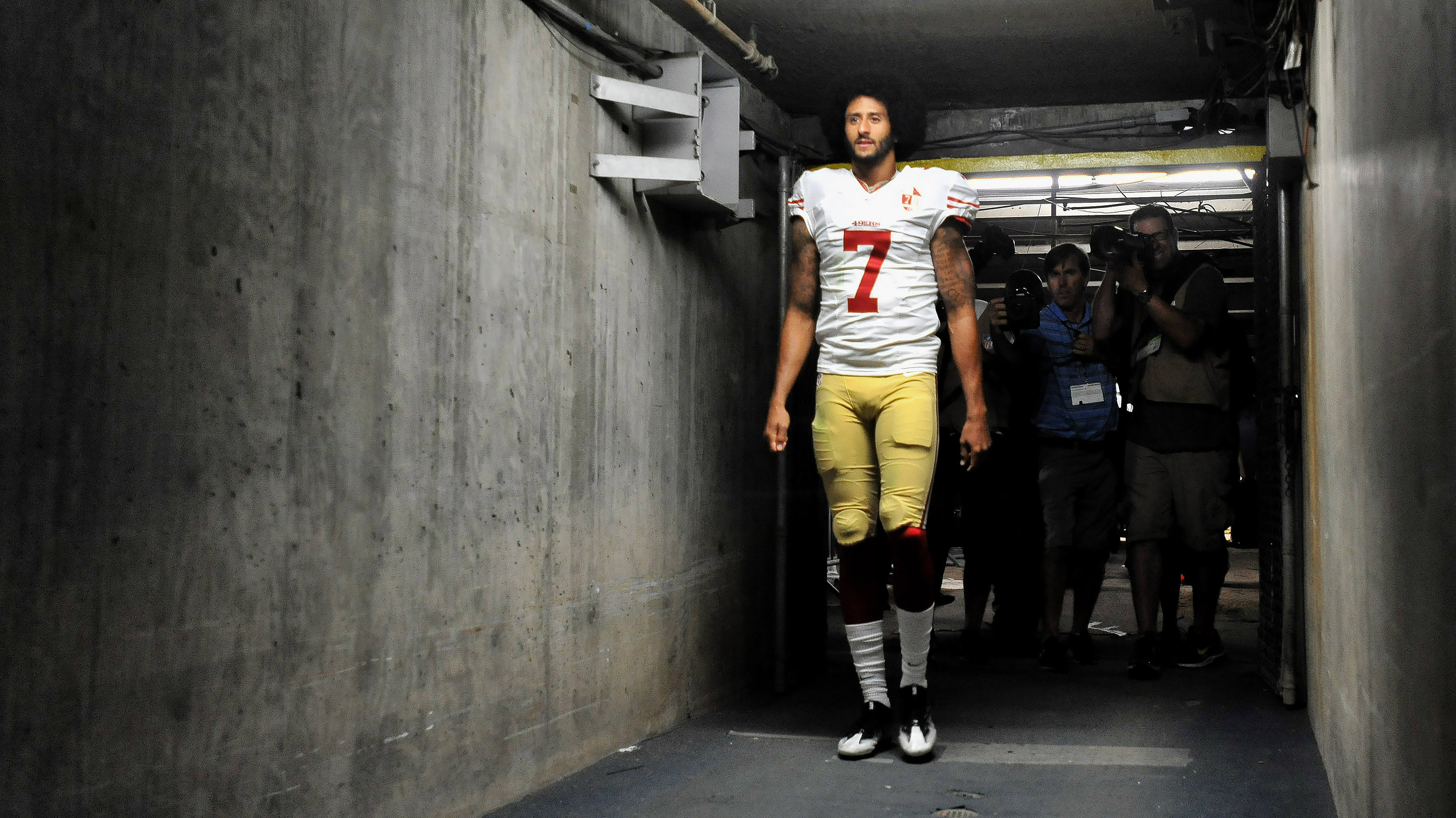 DATE IMPORTED:September 02, 2016Sep 1, 2016; San Diego, CA, USA; San Francisco 49ers quarterback Colin Kaepernick (7) walks into the tunnel after the game against the San Diego Chargers at Qualcomm Stadium. San Francisco won 31-21.