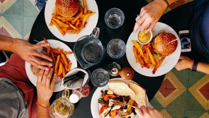 Group eating burgers and fries