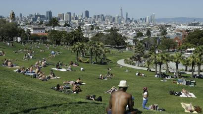 People in Dolores Park in San Francisco