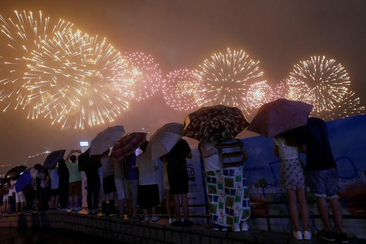 HK fireworks display July 1, 2017.