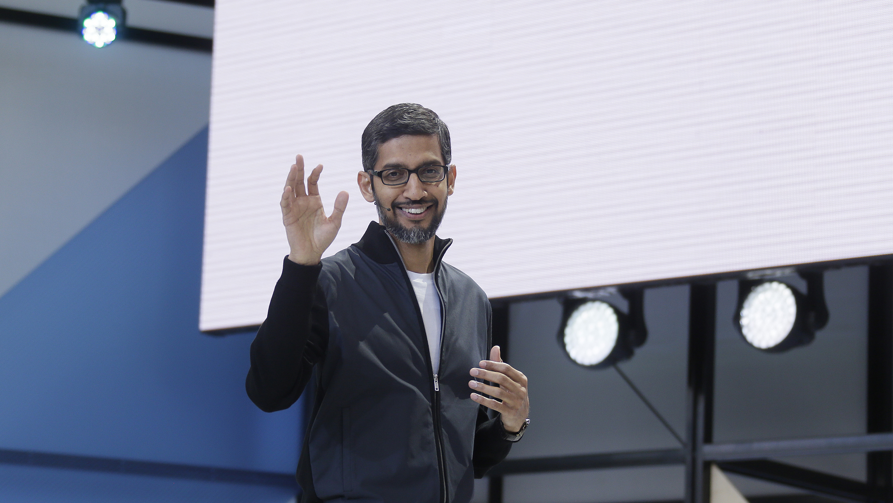 Google CEO Sundar Pichai delivers the keynote address of the Google I/O conference Wednesday, May 17, 2017, in Mountain View, Calif. Google provided the latest peek at the digital services and gadgets that it has assembled in the high-tech tussle to become an even more influential force in people's lives.(AP Photo/Eric Risberg)