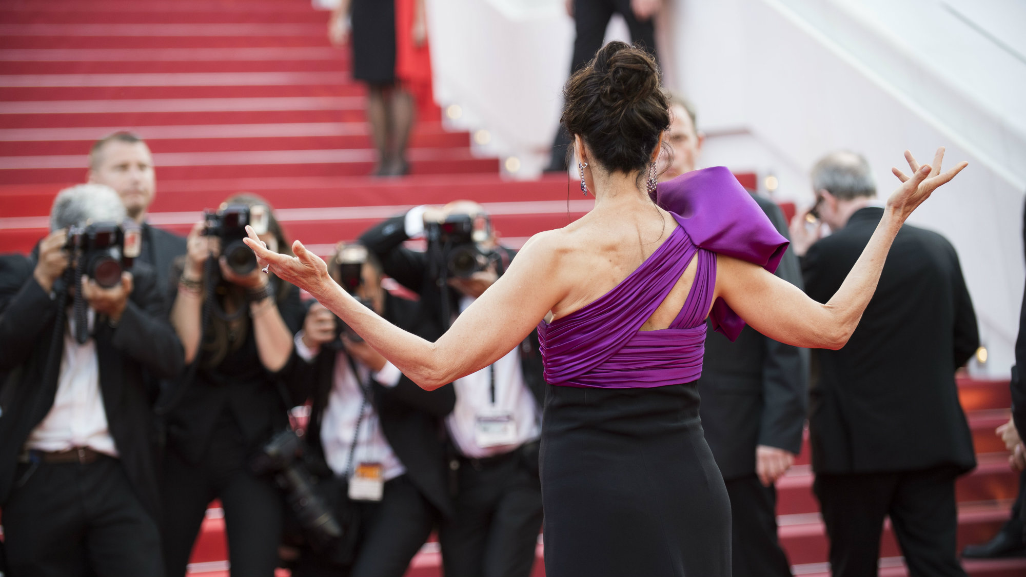 Andie MacDowell poses for photographers upon arrival at the screening of the film The Meyerowitz Stories at the 70th international film festival, Cannes, southern France, Sunday, May 21, 2017.