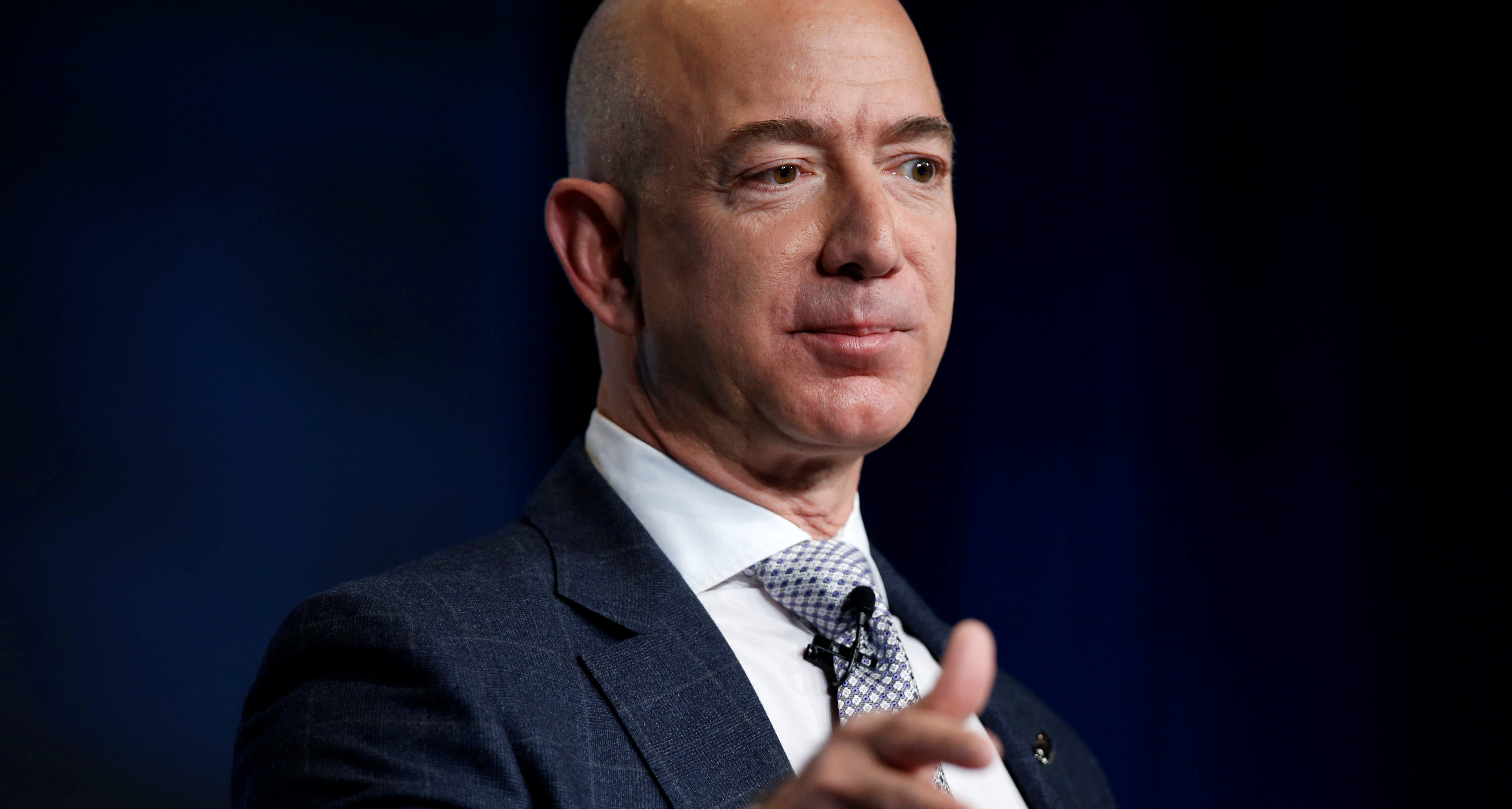 Jeff Bezos, founder of Blue Origin and CEO of Amazon, speaks about the future plans of Blue Origin during an address to attendees at Access Intelligence's SATELLITE 2017 conference in Washington, U.S., March 7, 2017. REUTERS/Joshua Roberts - RTS11SSO