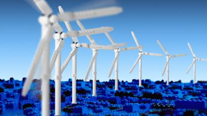 Wind turbines made of Lego bricks.