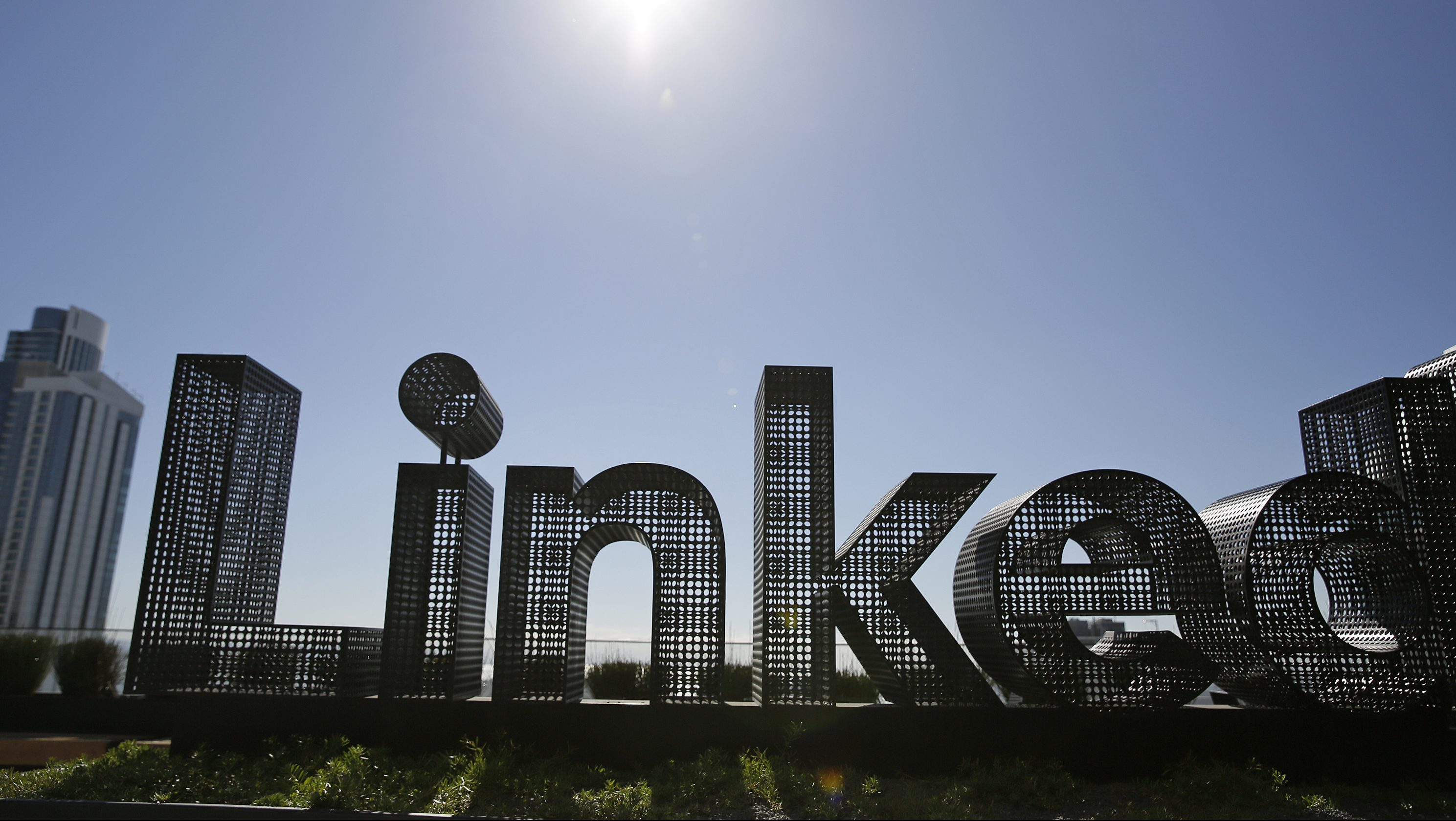 A sculpture is seen on a terrace outside the offices of LinkedIn Thursday, Sept. 22, 2016, in San Francisco.