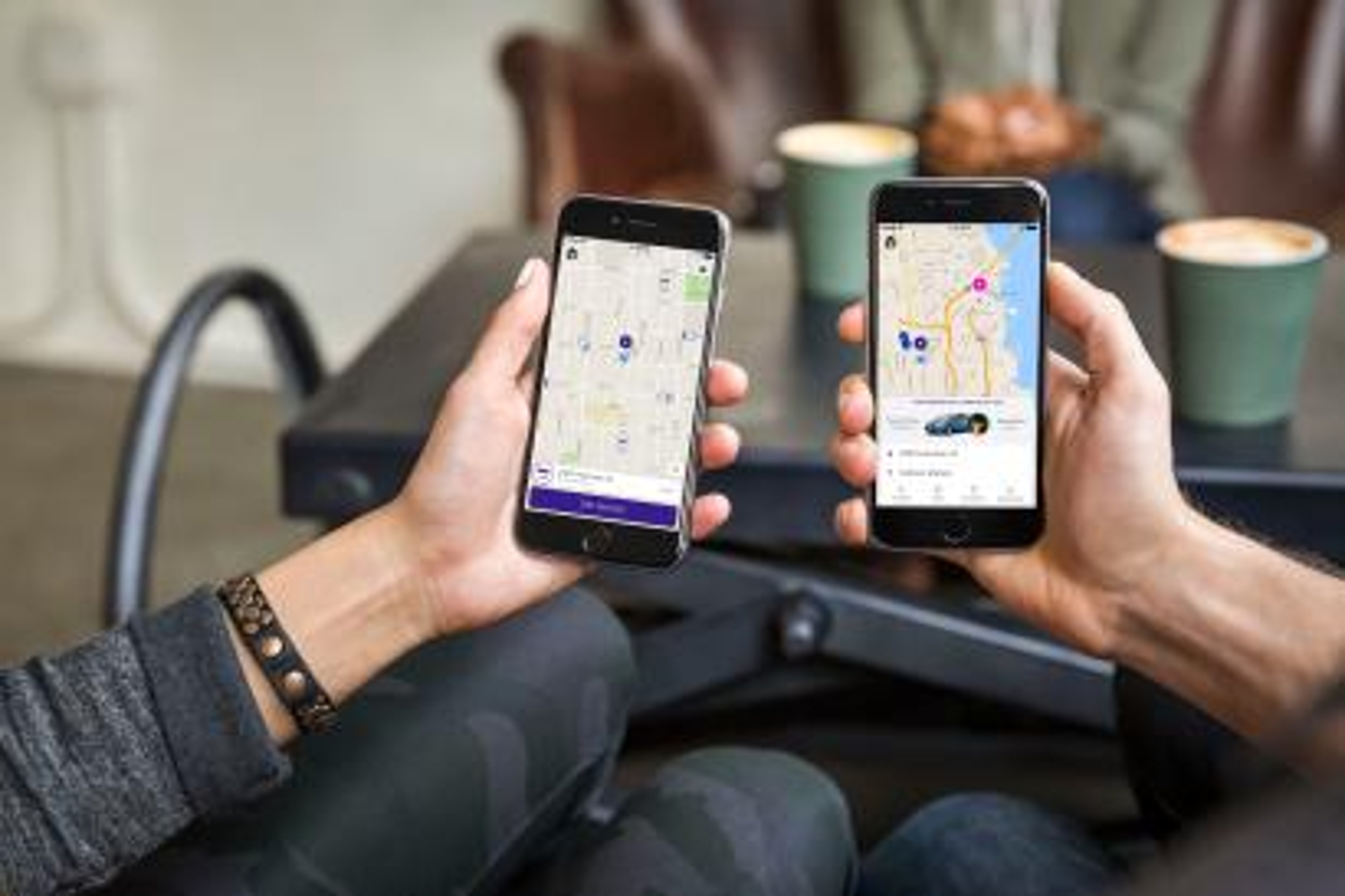 Users call a Lyft on its app.