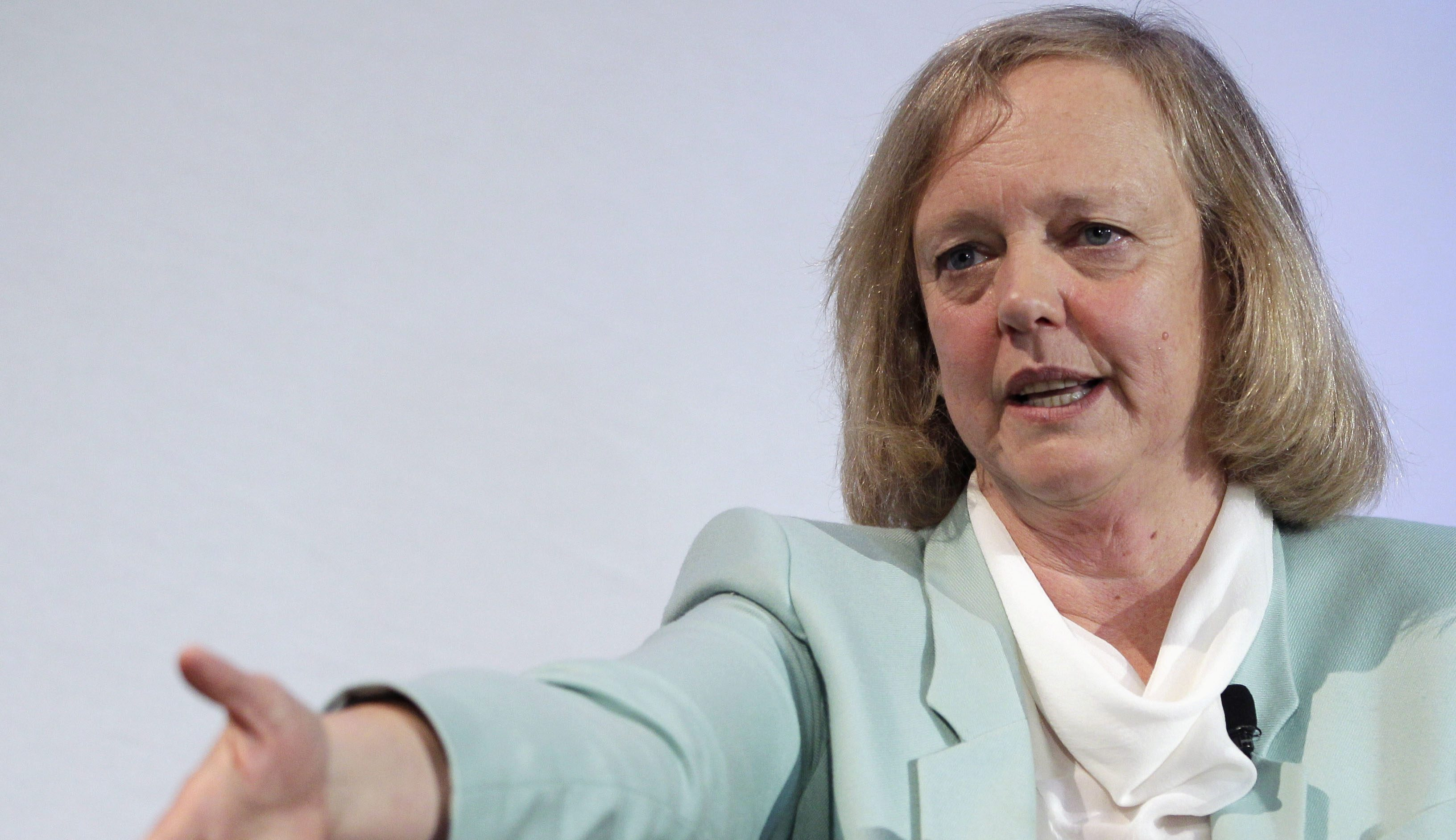 Hewlett Packard CEO and President Meg Whitman speaks at a conference on the Stanford University campus in Palo Alto, Calif.